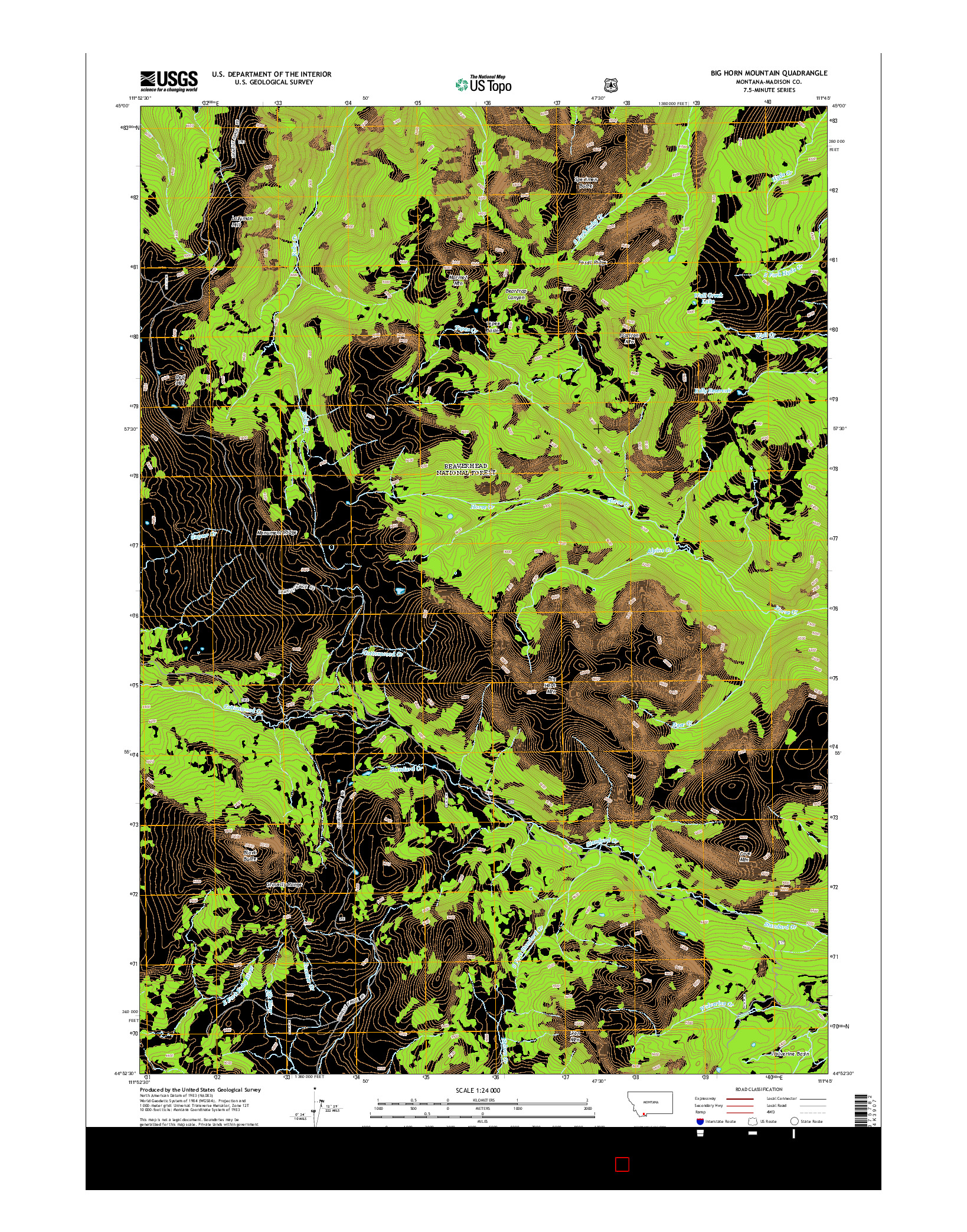 USGS US TOPO 7.5-MINUTE MAP FOR BIG HORN MOUNTAIN, MT 2014
