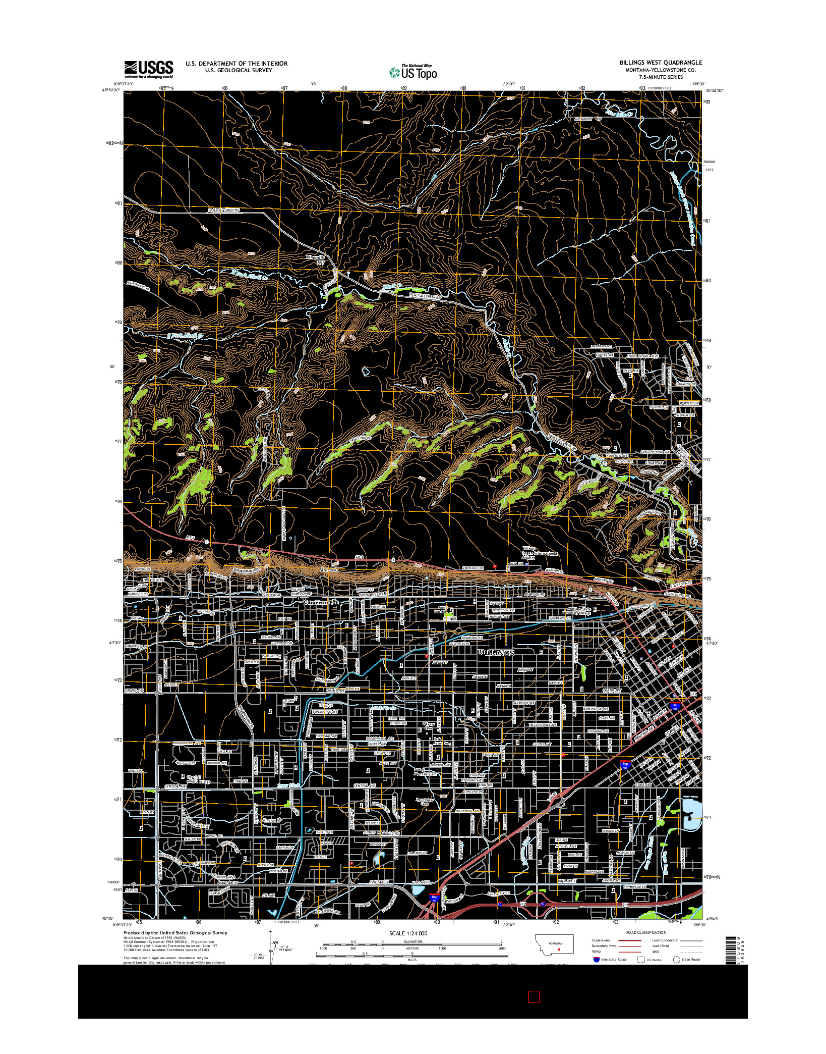 USGS US TOPO 7.5-MINUTE MAP FOR BILLINGS WEST, MT 2014