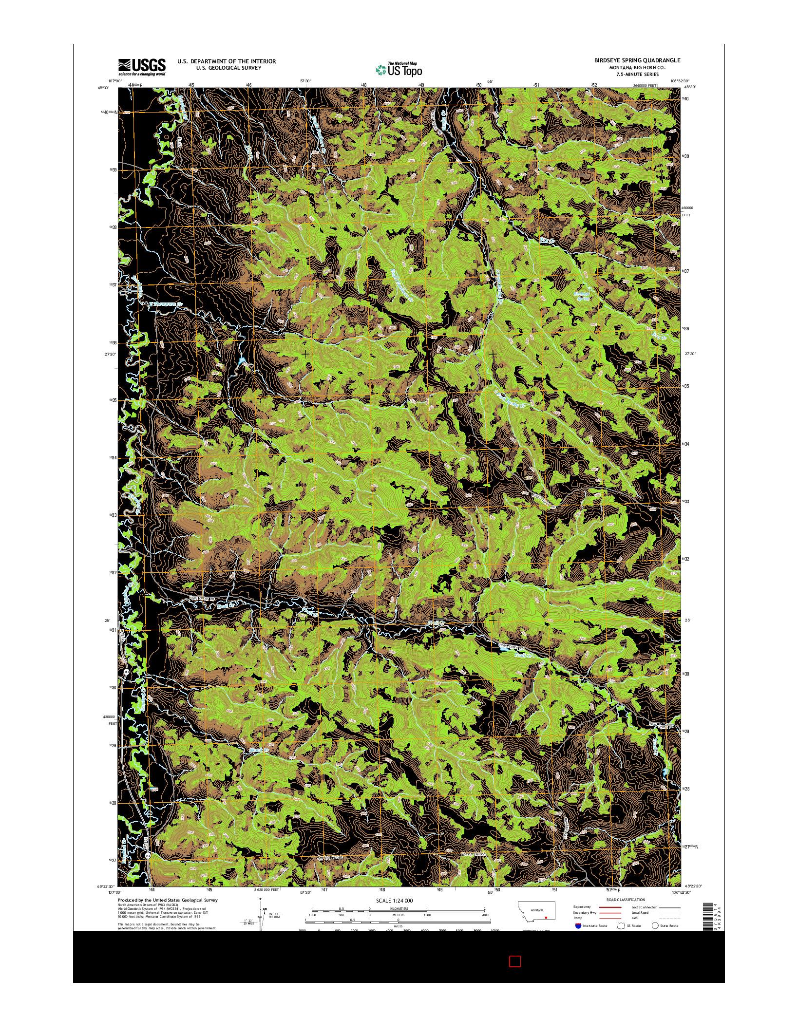 USGS US TOPO 7.5-MINUTE MAP FOR BIRDSEYE SPRING, MT 2014