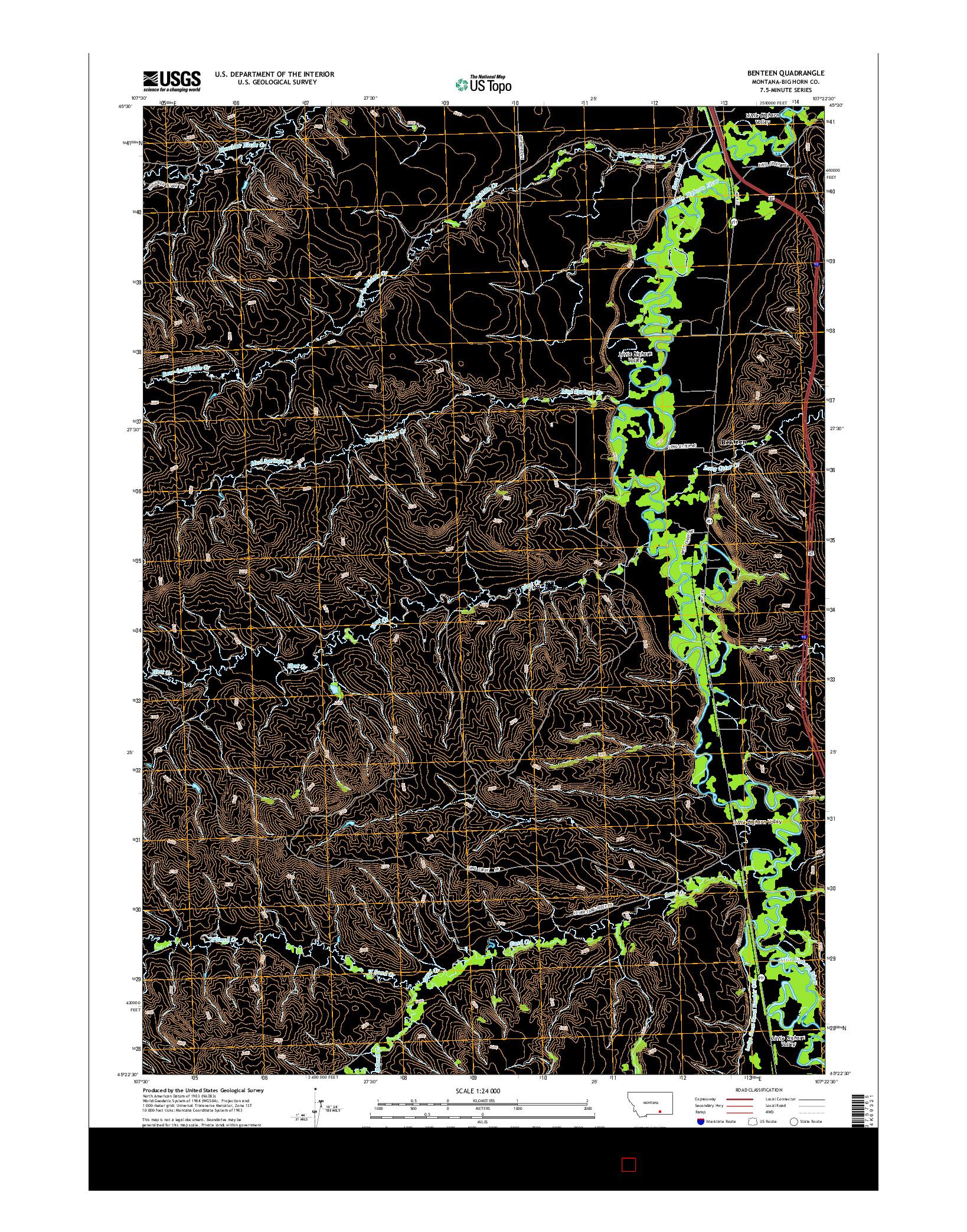 USGS US TOPO 7.5-MINUTE MAP FOR BENTEEN, MT 2014