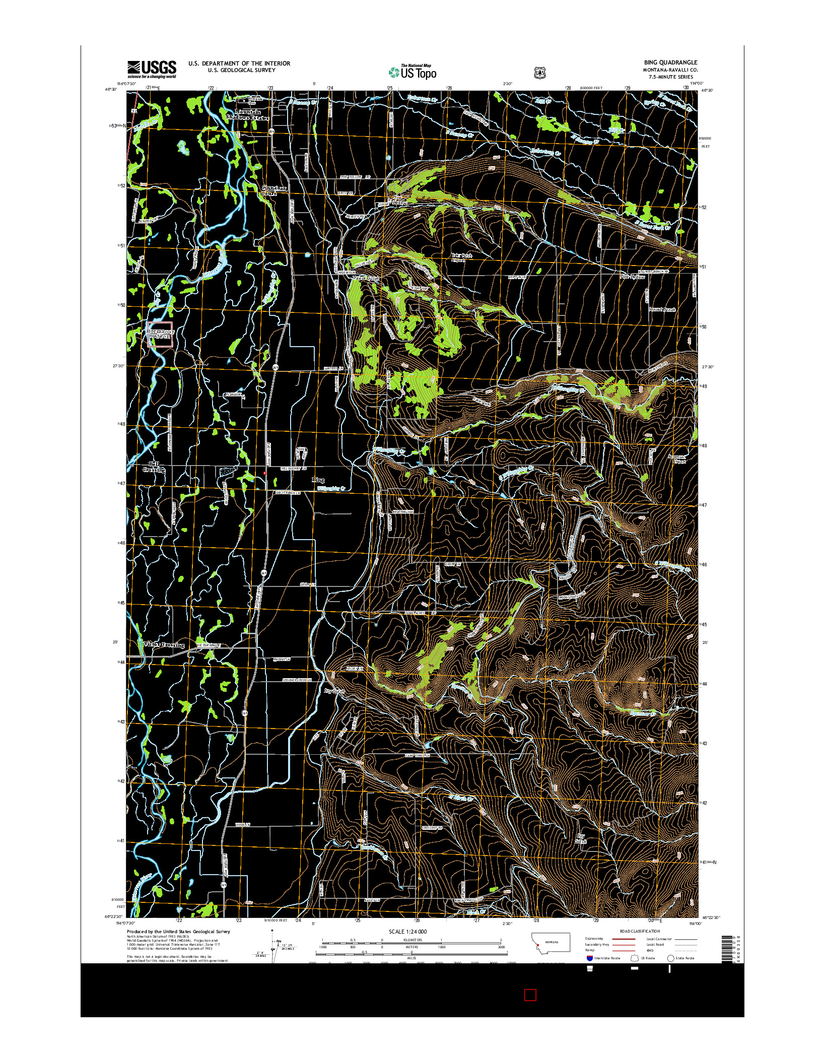USGS US TOPO 7.5-MINUTE MAP FOR BING, MT 2014