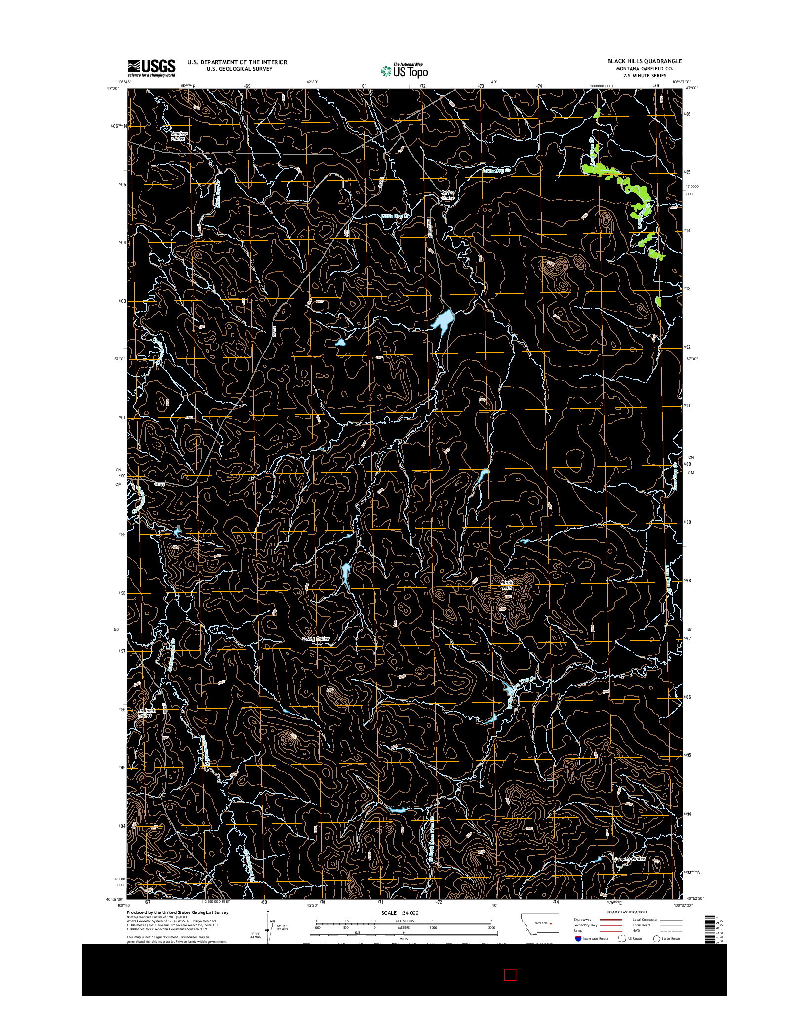 USGS US TOPO 7.5-MINUTE MAP FOR BLACK HILLS, MT 2014