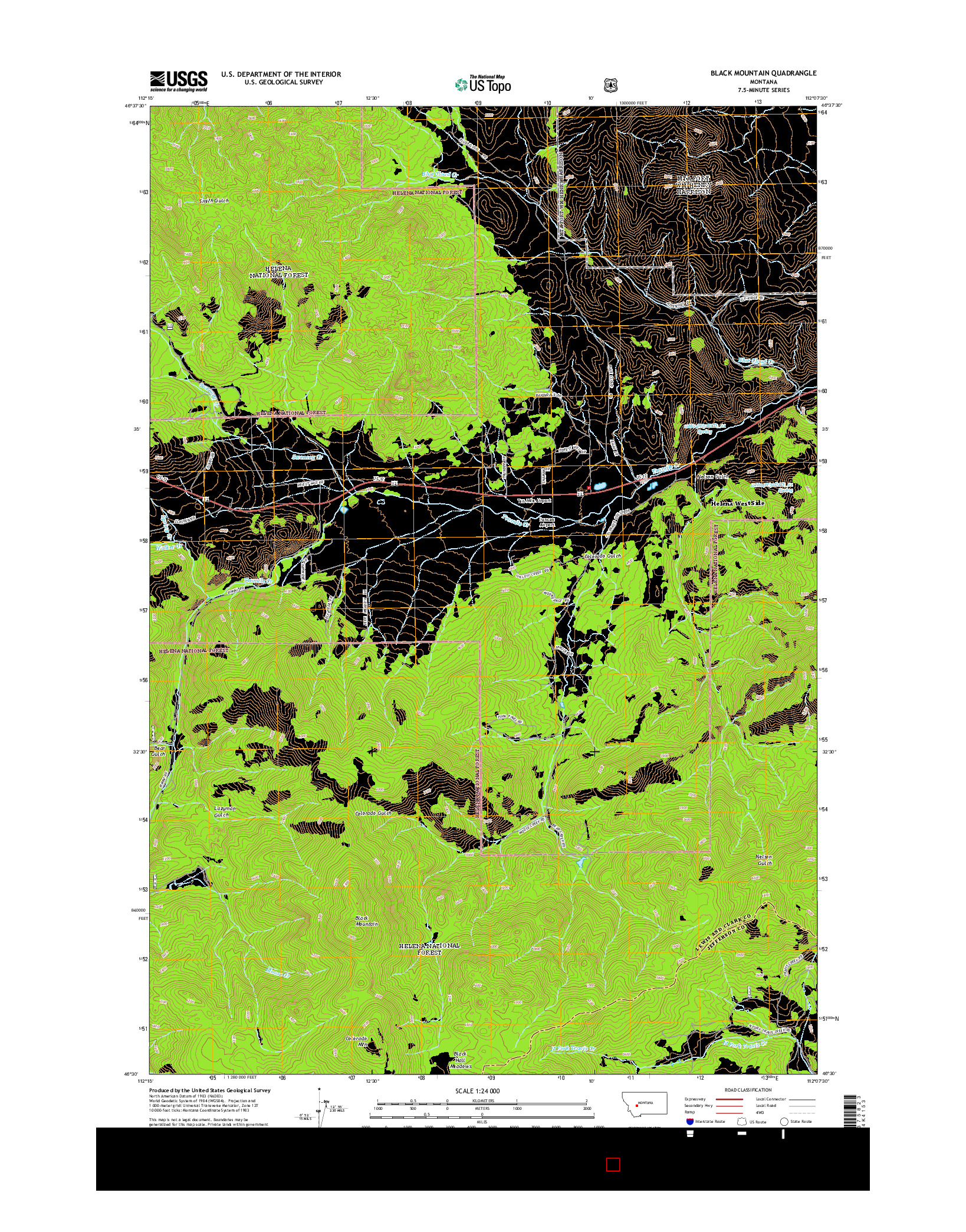 USGS US TOPO 7.5-MINUTE MAP FOR BLACK MOUNTAIN, MT 2014