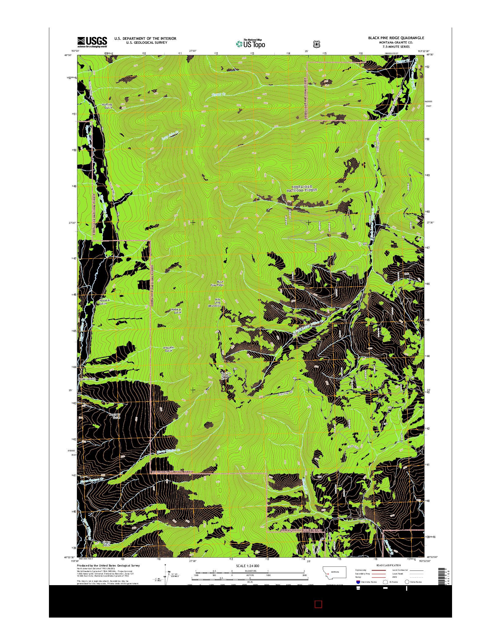 USGS US TOPO 7.5-MINUTE MAP FOR BLACK PINE RIDGE, MT 2014