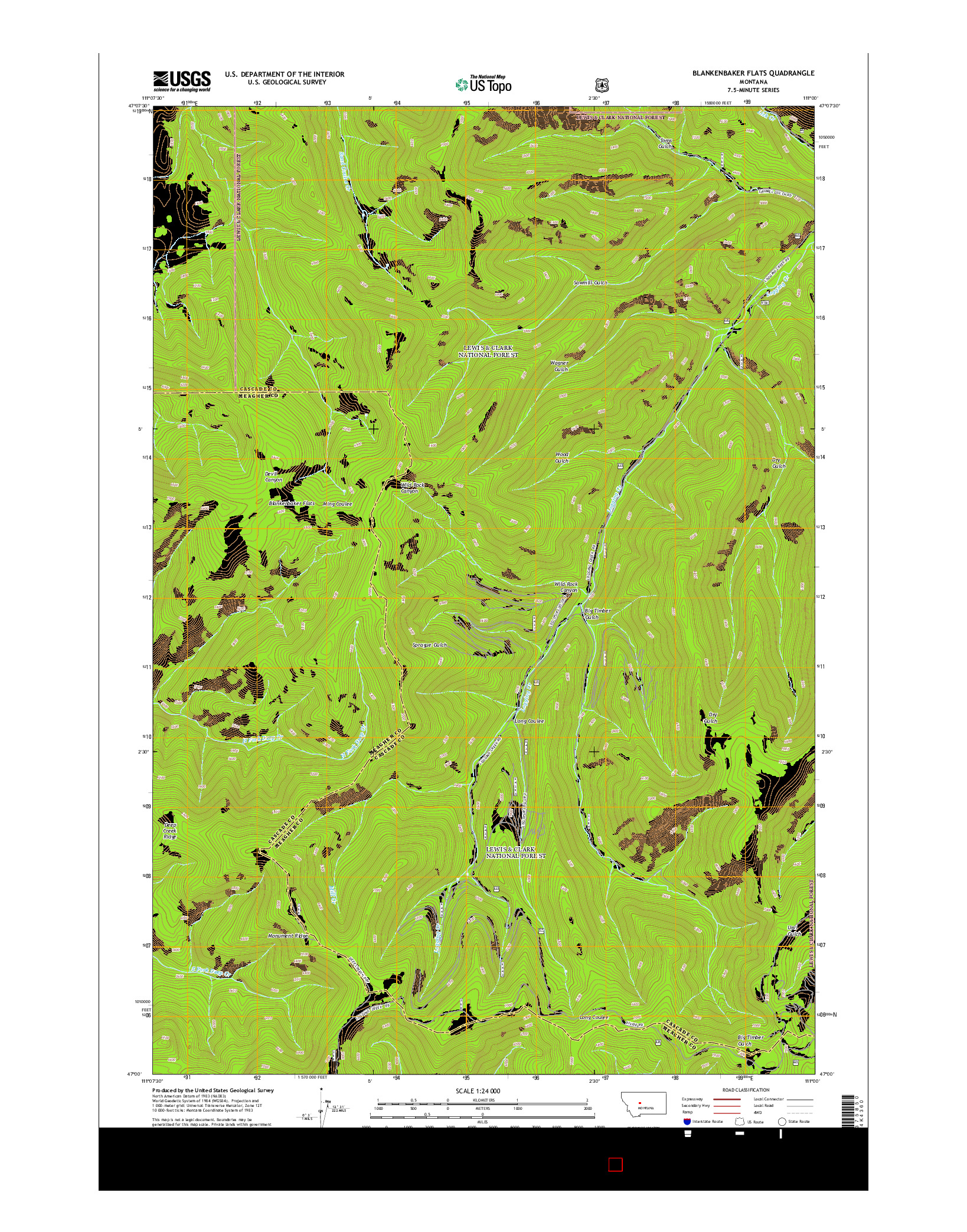 USGS US TOPO 7.5-MINUTE MAP FOR BLANKENBAKER FLATS, MT 2014