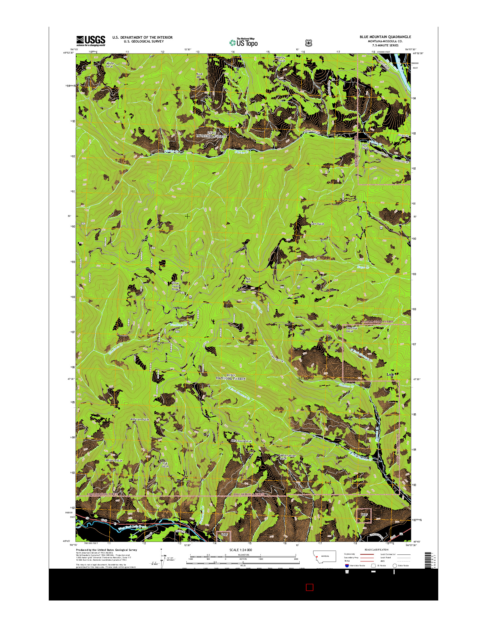 USGS US TOPO 7.5-MINUTE MAP FOR BLUE MOUNTAIN, MT 2014