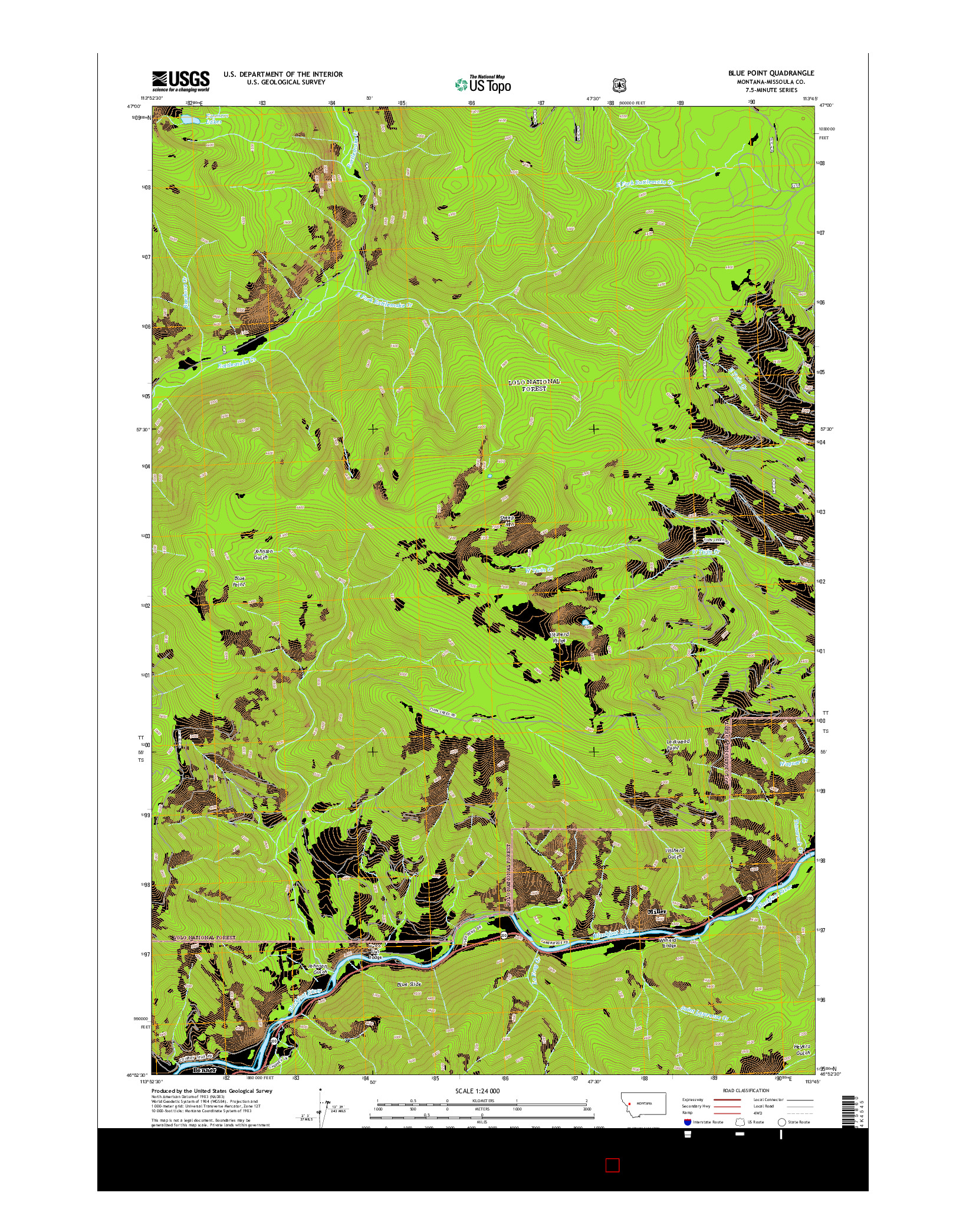 USGS US TOPO 7.5-MINUTE MAP FOR BLUE POINT, MT 2014