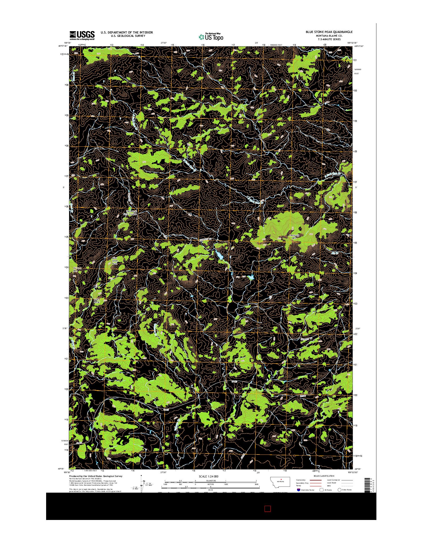 USGS US TOPO 7.5-MINUTE MAP FOR BLUE STONE PEAK, MT 2014