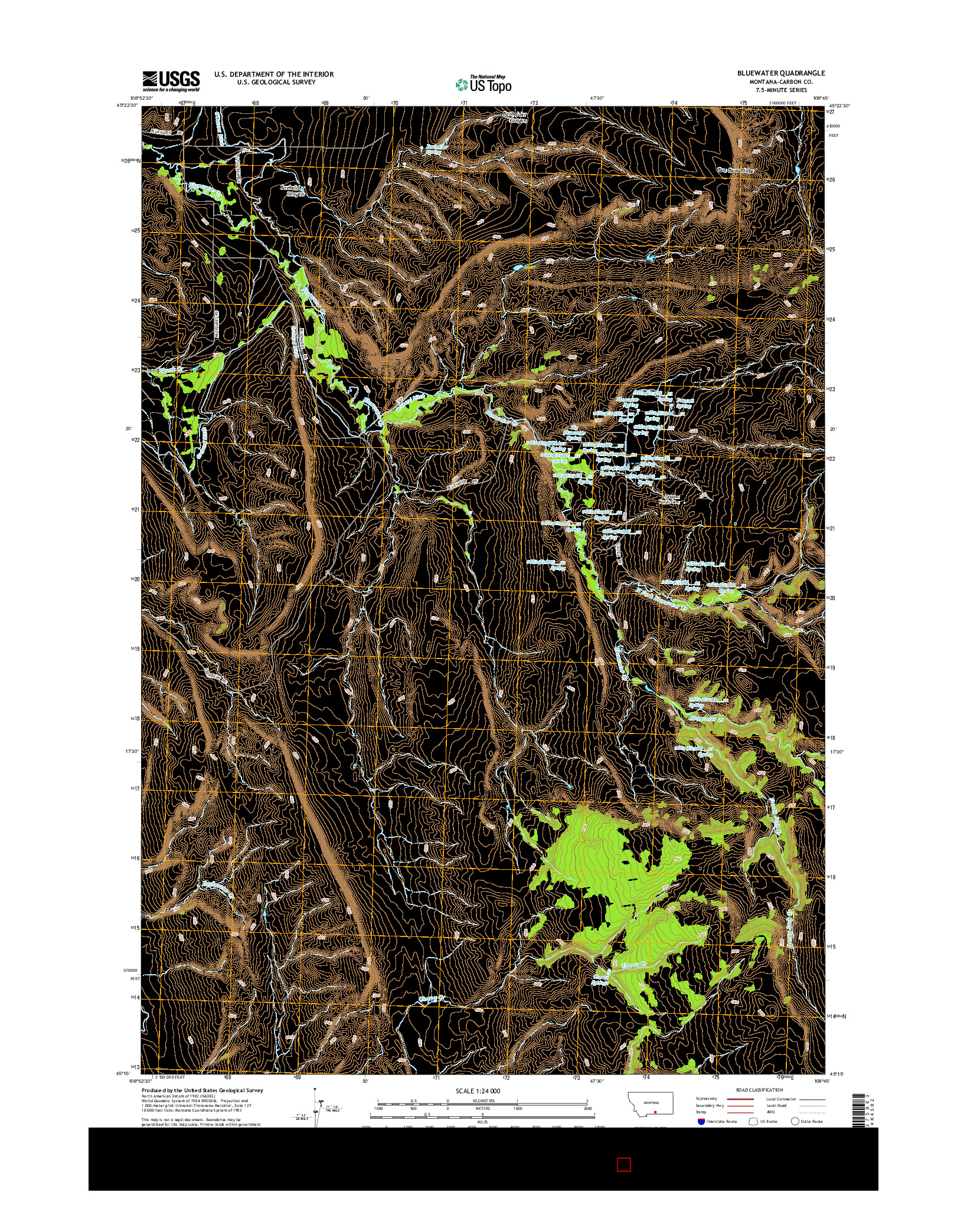 USGS US TOPO 7.5-MINUTE MAP FOR BLUEWATER, MT 2014