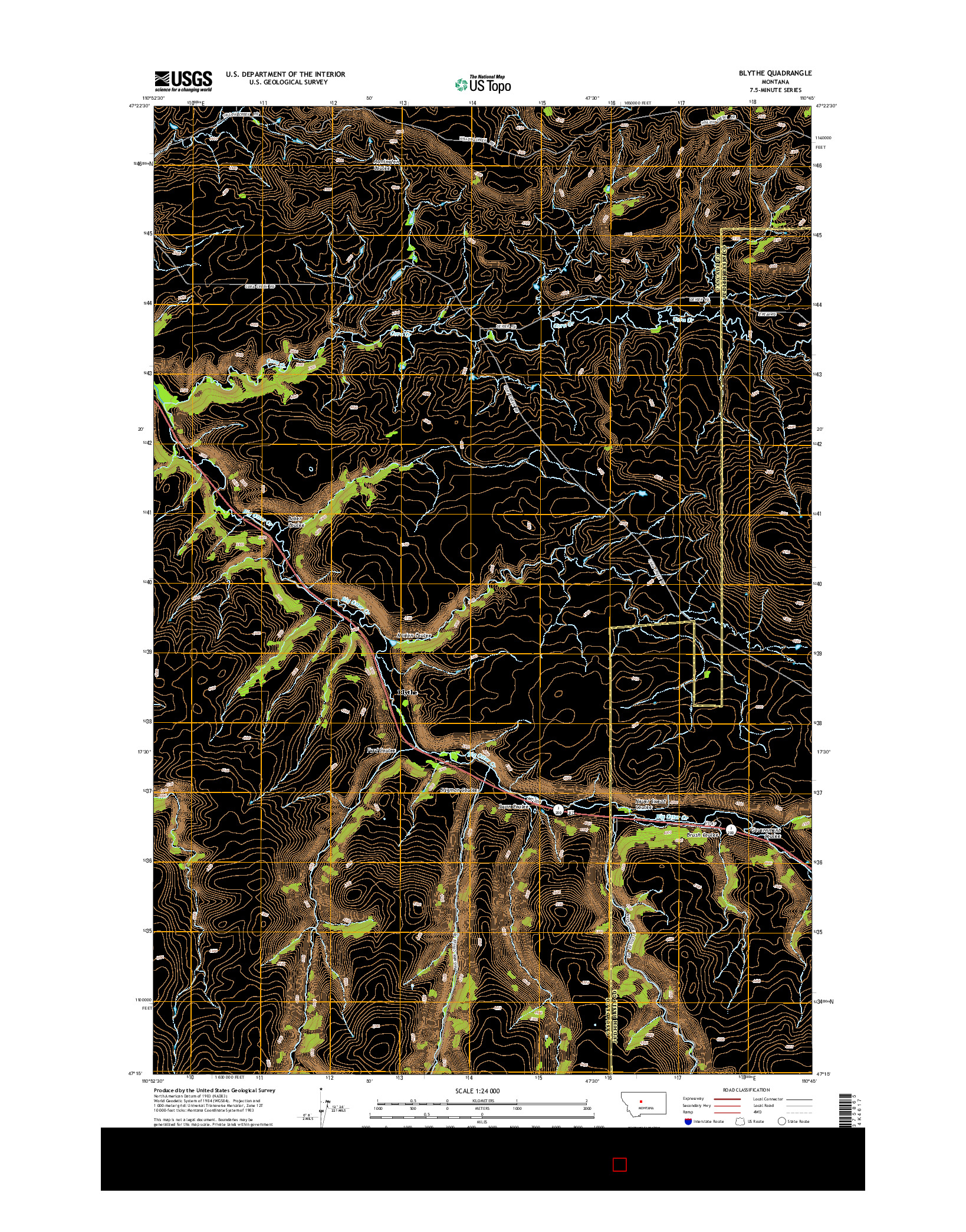 USGS US TOPO 7.5-MINUTE MAP FOR BLYTHE, MT 2014