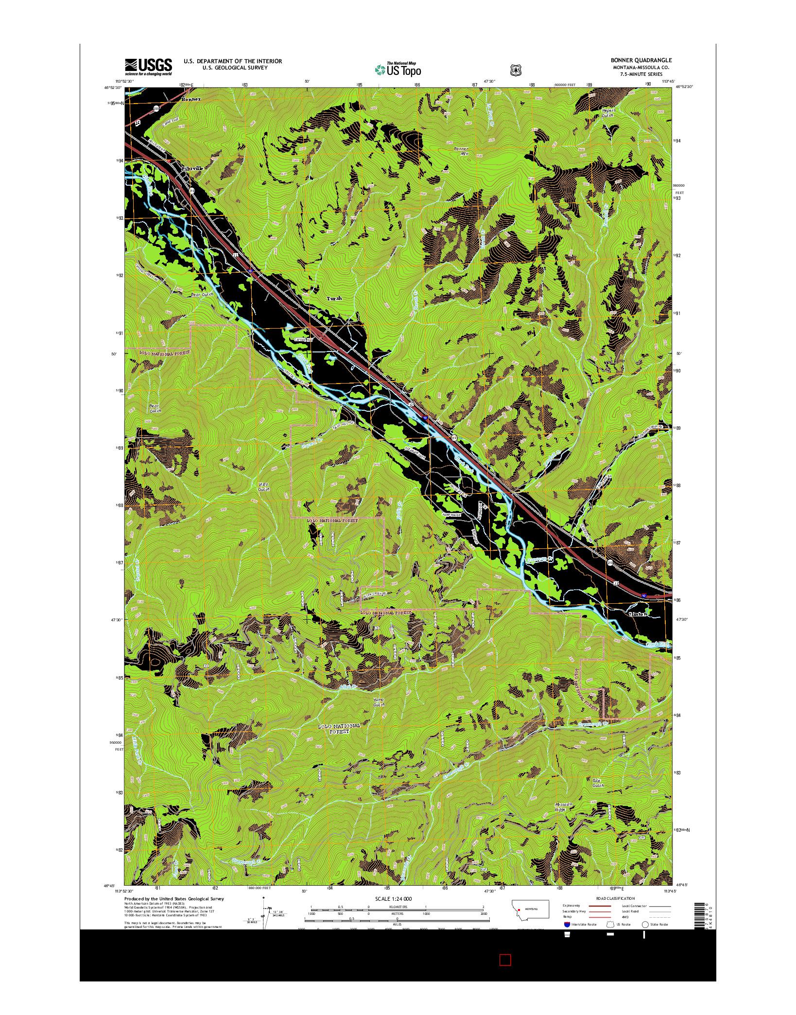 USGS US TOPO 7.5-MINUTE MAP FOR BONNER, MT 2014