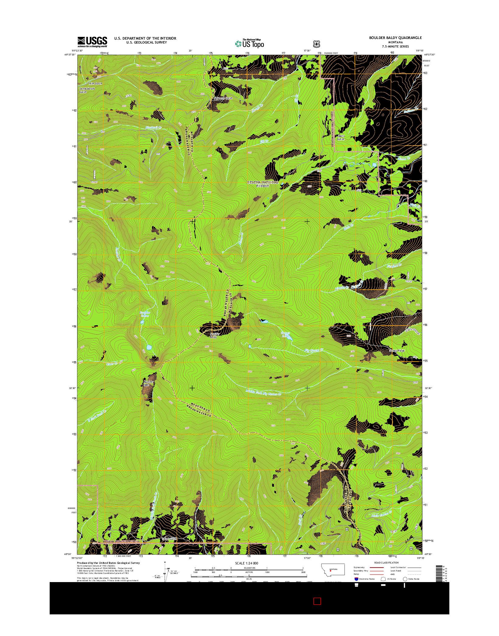 USGS US TOPO 7.5-MINUTE MAP FOR BOULDER BALDY, MT 2014