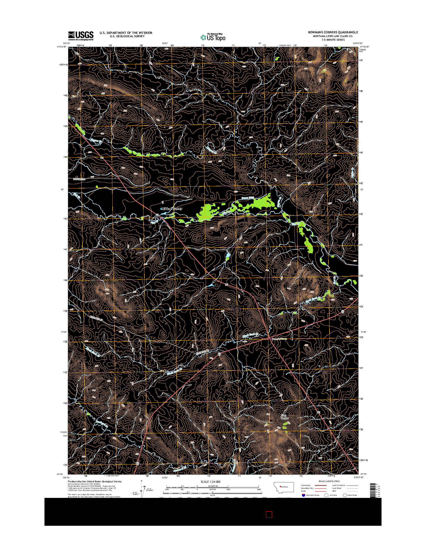 USGS US TOPO 7.5-MINUTE MAP FOR BOWMANS CORNERS, MT 2014