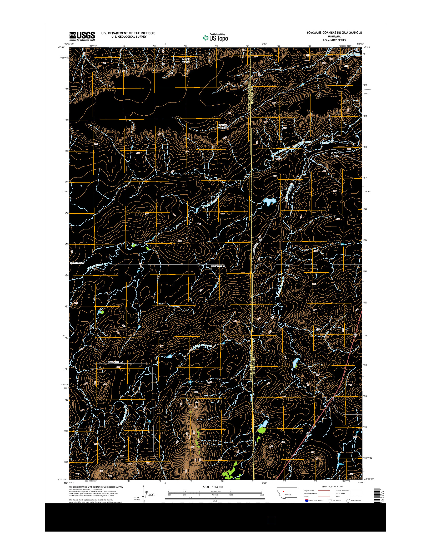 USGS US TOPO 7.5-MINUTE MAP FOR BOWMANS CORNERS NE, MT 2014