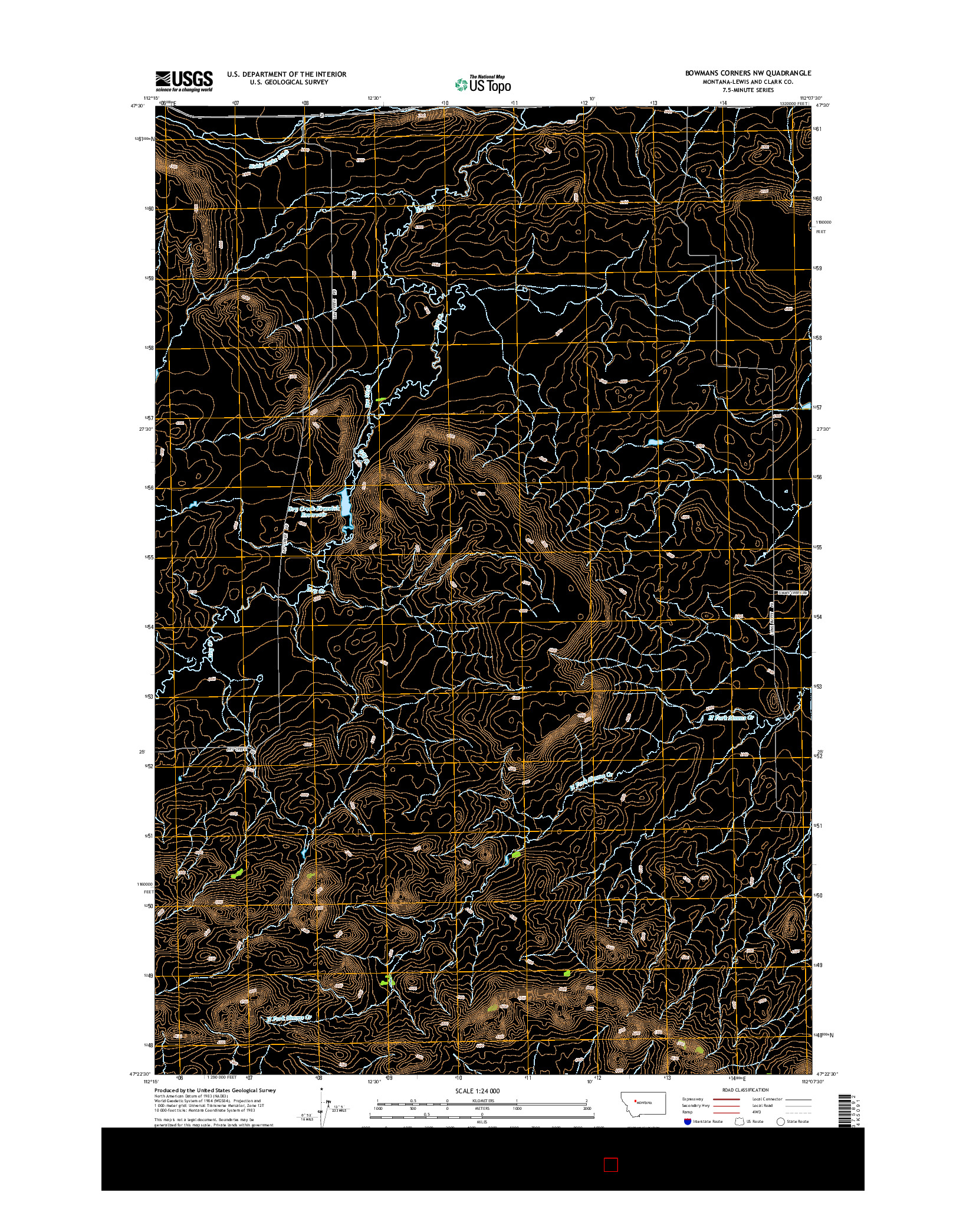USGS US TOPO 7.5-MINUTE MAP FOR BOWMANS CORNERS NW, MT 2014