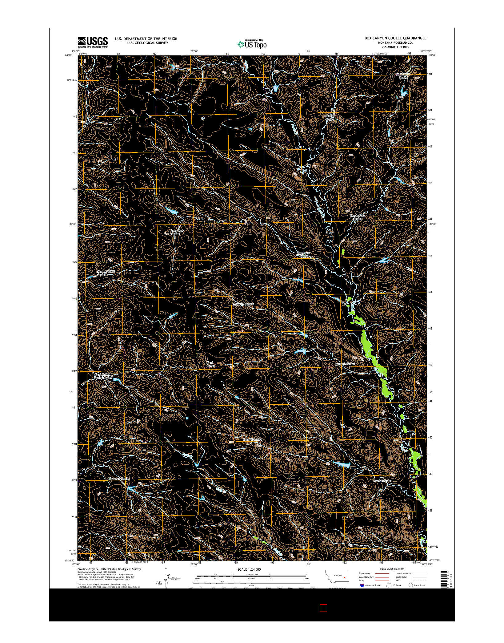 USGS US TOPO 7.5-MINUTE MAP FOR BOX CANYON COULEE, MT 2014