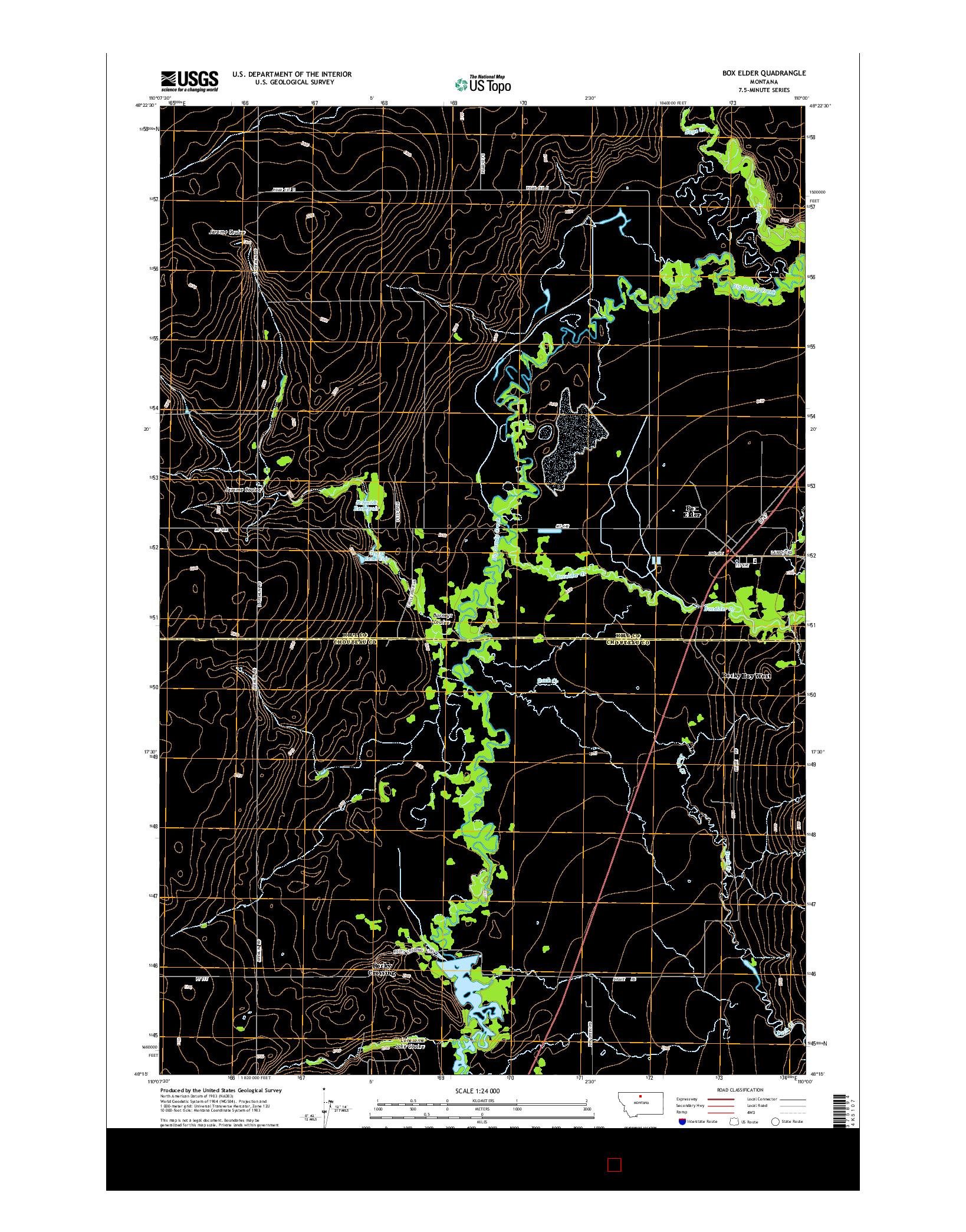 USGS US TOPO 7.5-MINUTE MAP FOR BOX ELDER, MT 2014