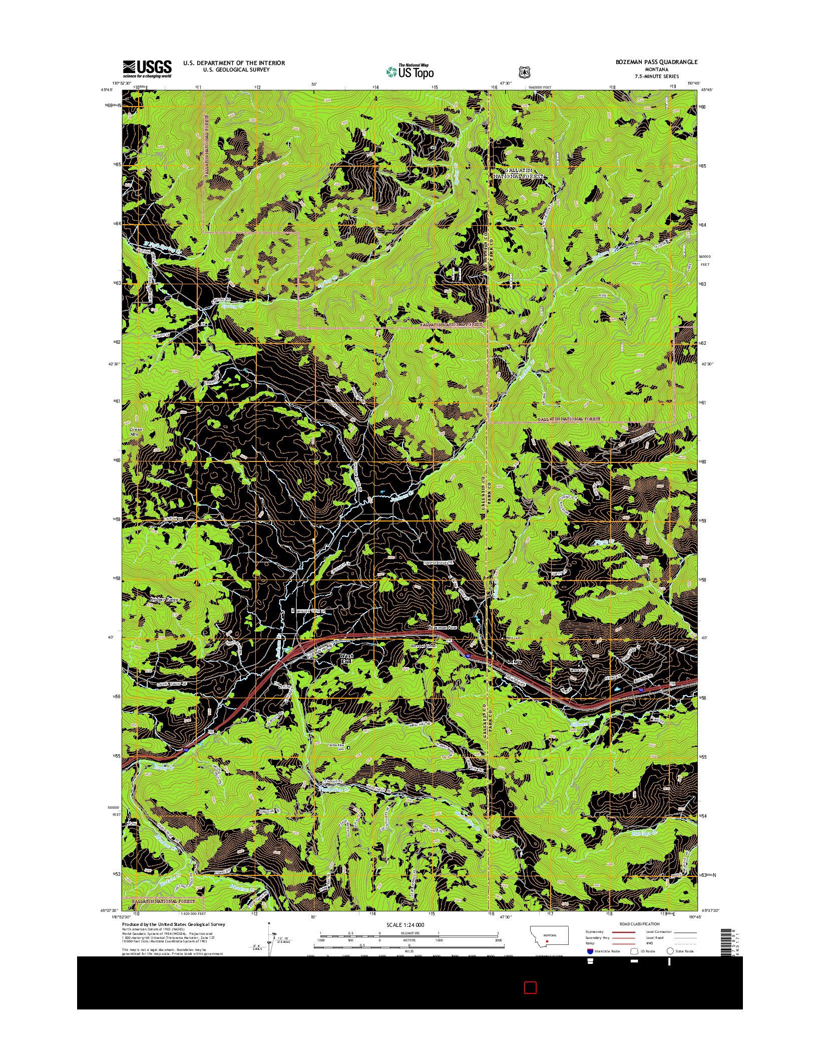 USGS US TOPO 7.5-MINUTE MAP FOR BOZEMAN PASS, MT 2014