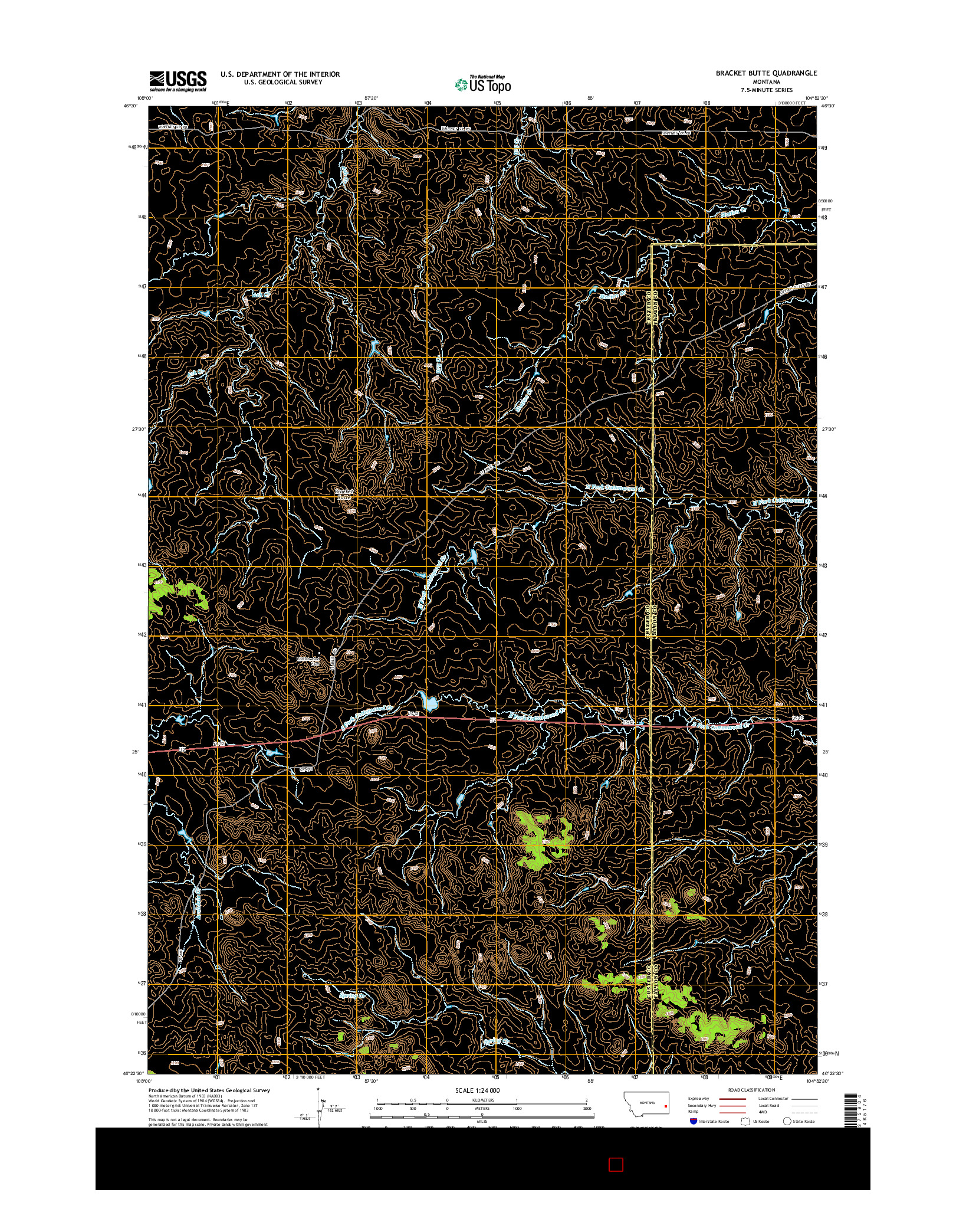 USGS US TOPO 7.5-MINUTE MAP FOR BRACKET BUTTE, MT 2014