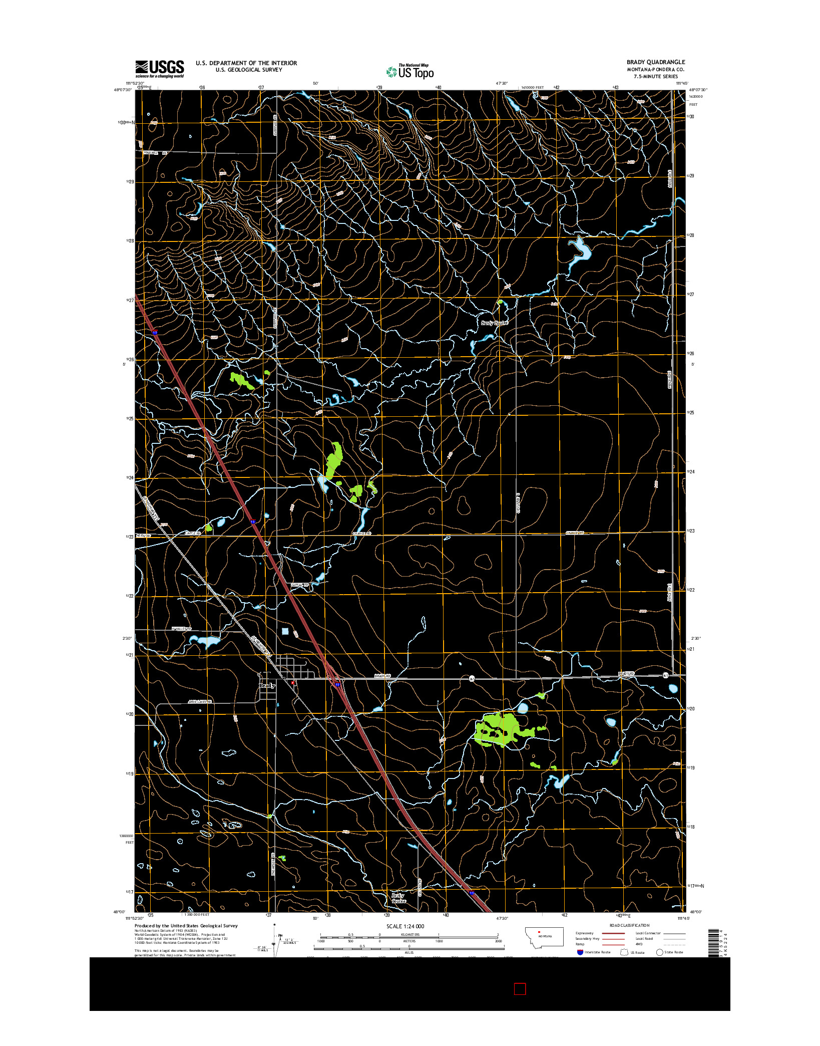 USGS US TOPO 7.5-MINUTE MAP FOR BRADY, MT 2014