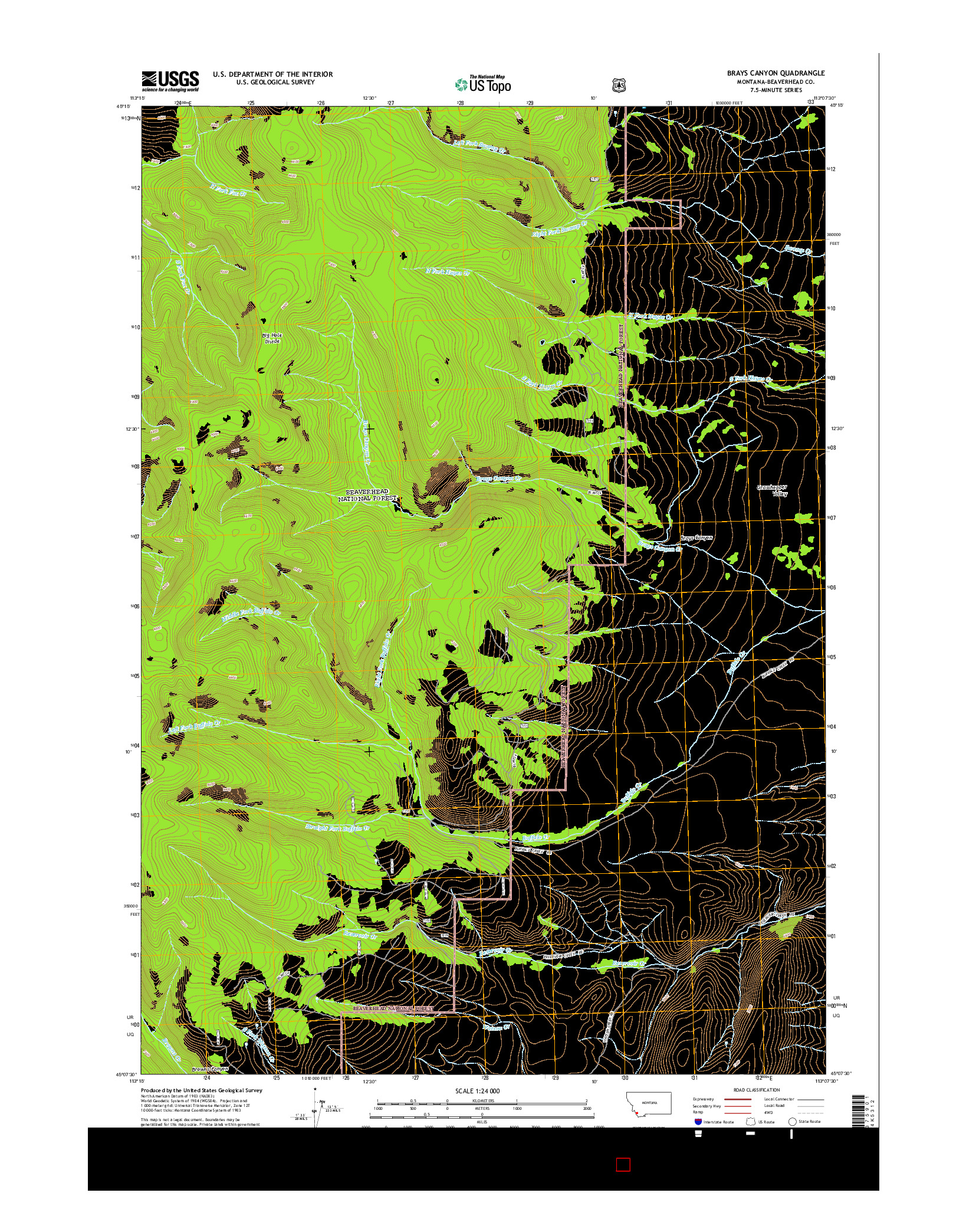 USGS US TOPO 7.5-MINUTE MAP FOR BRAYS CANYON, MT 2014