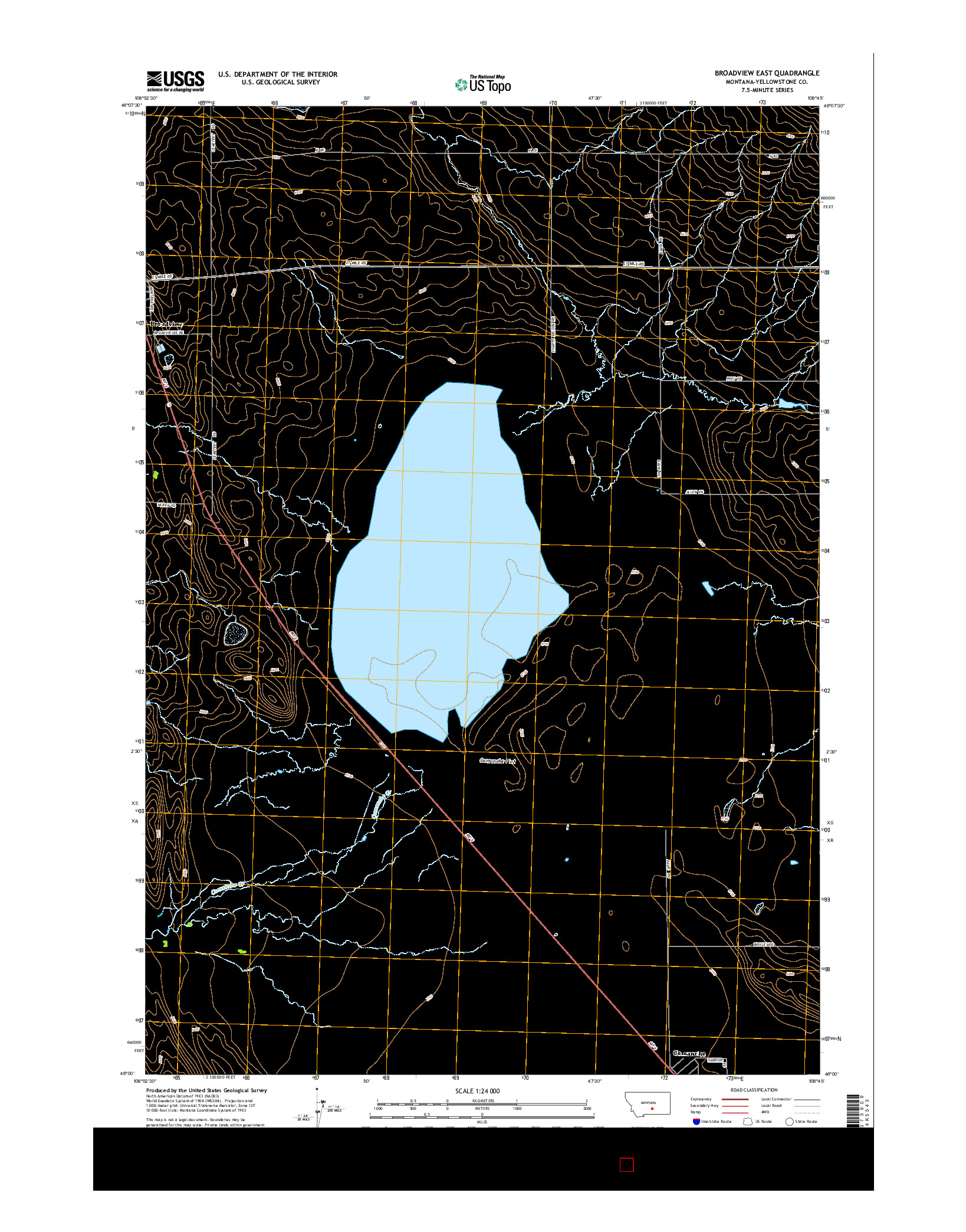USGS US TOPO 7.5-MINUTE MAP FOR BROADVIEW EAST, MT 2014