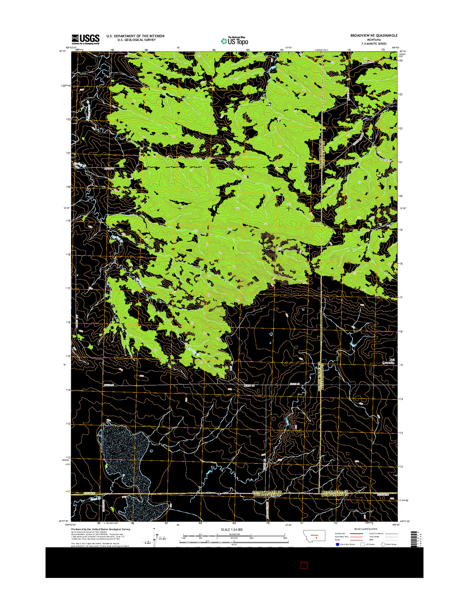 USGS US TOPO 7.5-MINUTE MAP FOR BROADVIEW NE, MT 2014