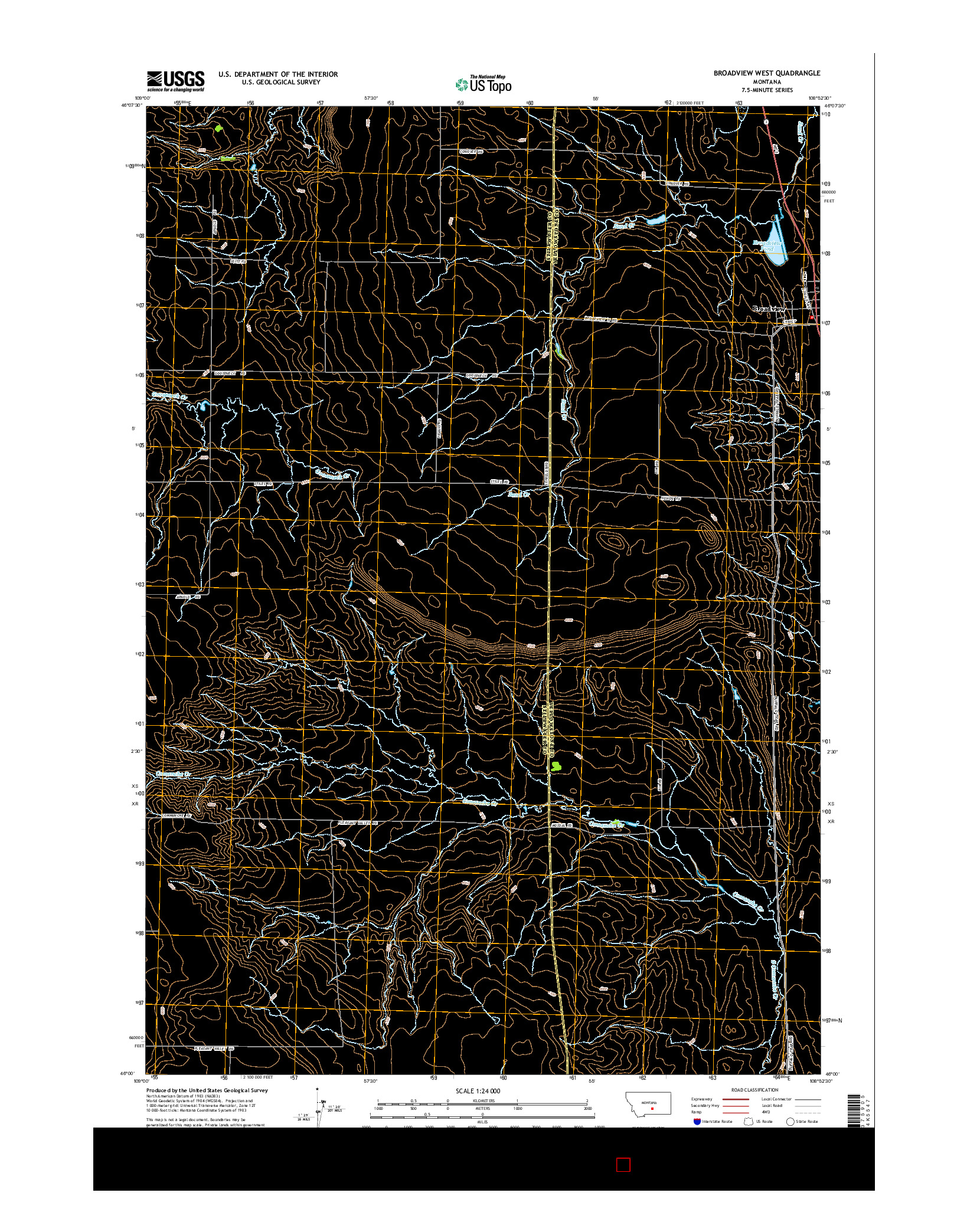 USGS US TOPO 7.5-MINUTE MAP FOR BROADVIEW WEST, MT 2014