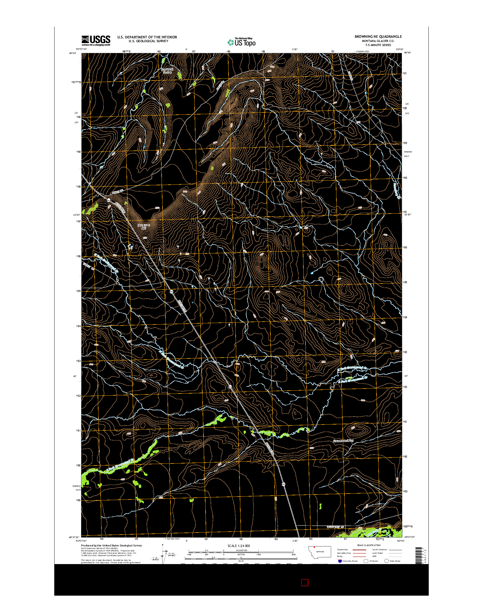 USGS US TOPO 7.5-MINUTE MAP FOR BROWNING NE, MT 2014
