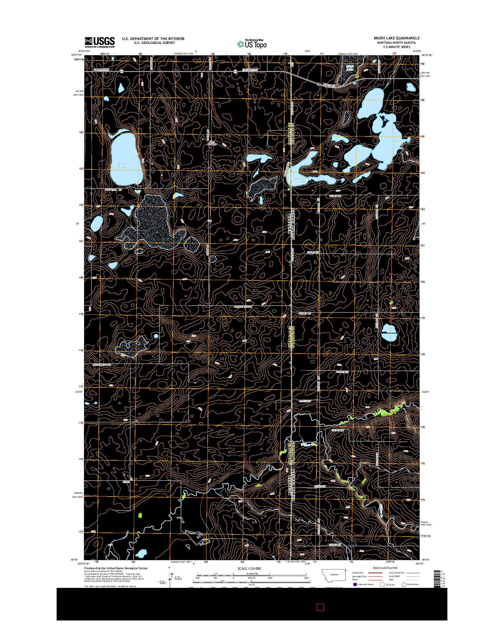 USGS US TOPO 7.5-MINUTE MAP FOR BRUSH LAKE, MT-ND 2014