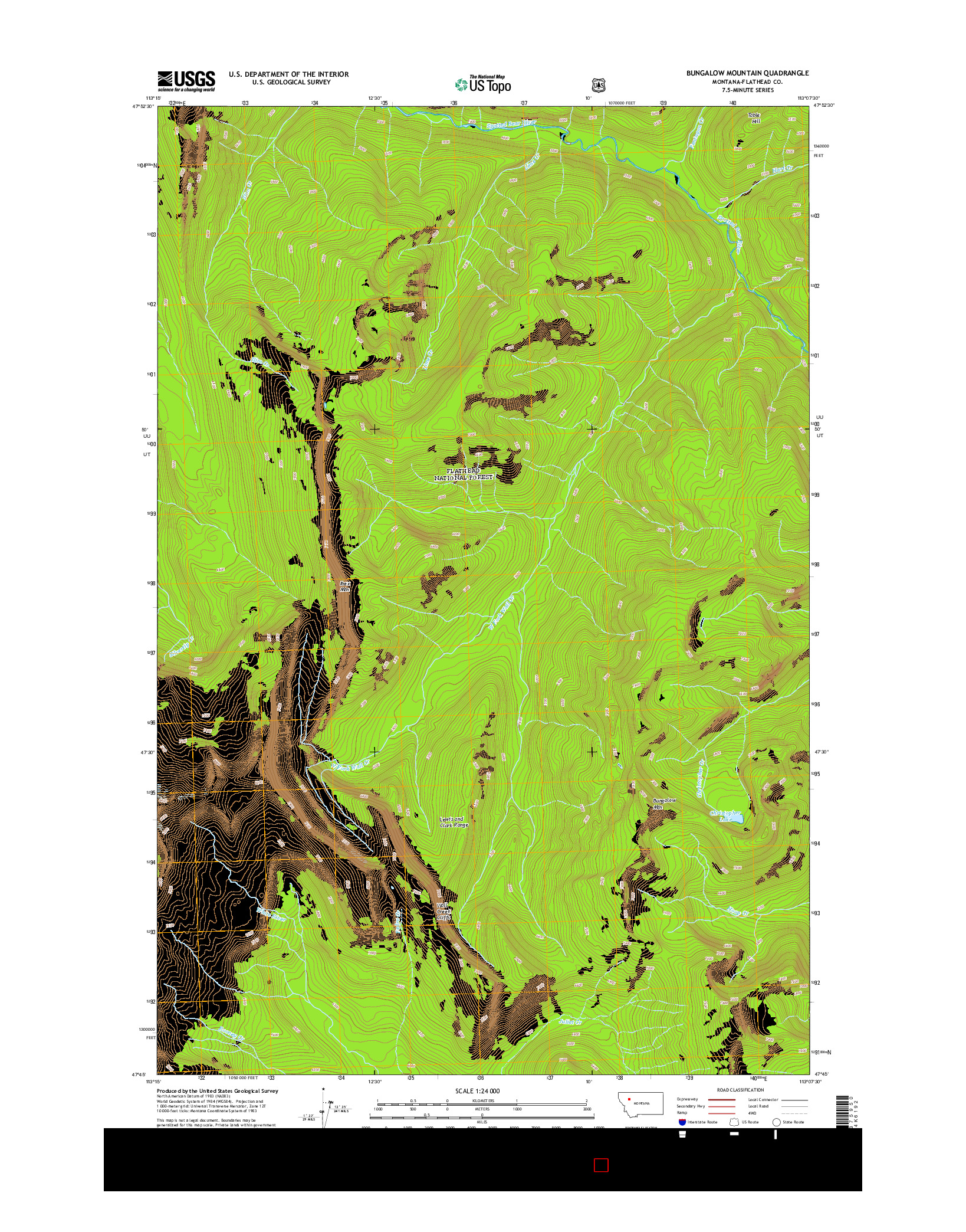 USGS US TOPO 7.5-MINUTE MAP FOR BUNGALOW MOUNTAIN, MT 2014