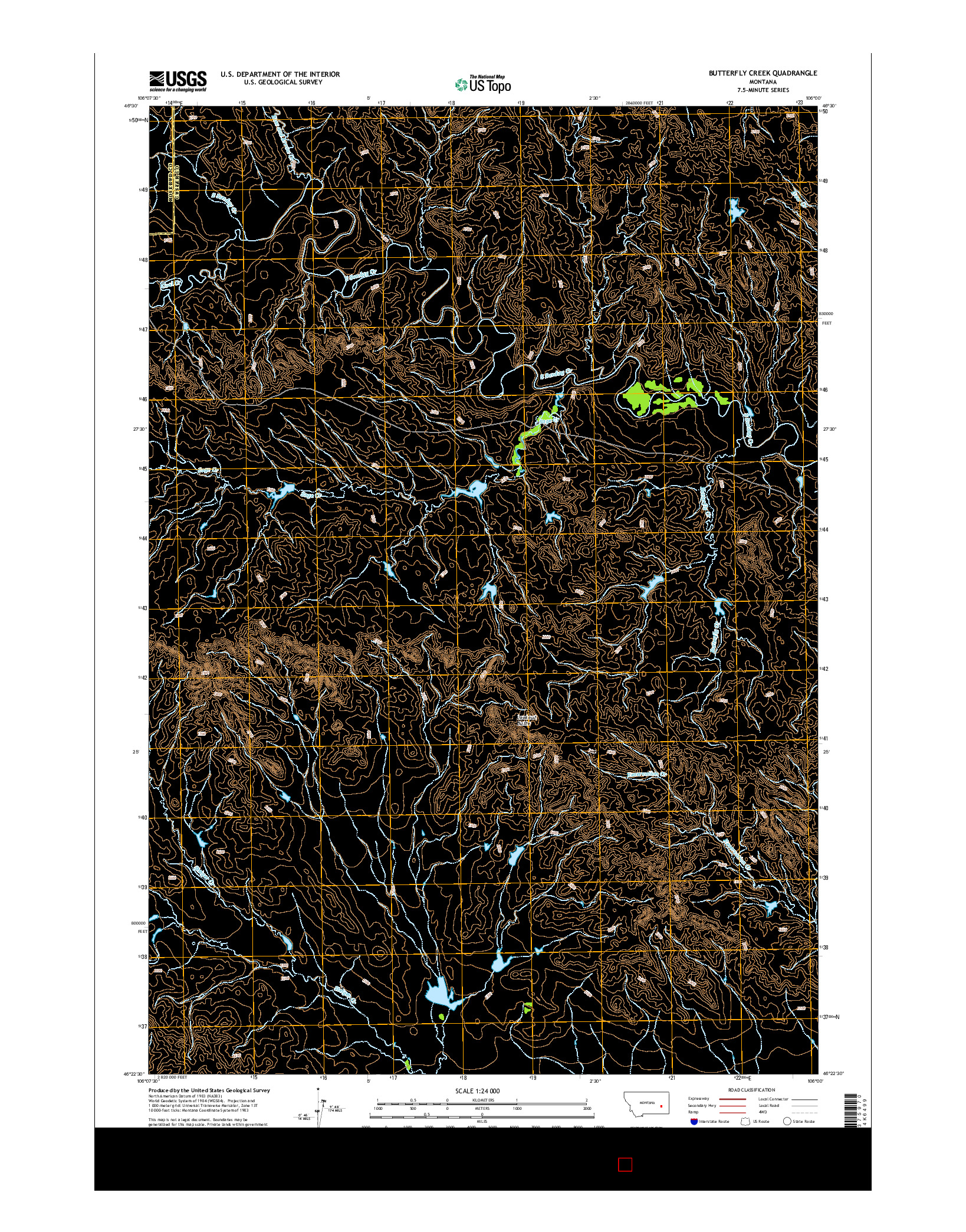 USGS US TOPO 7.5-MINUTE MAP FOR BUTTERFLY CREEK, MT 2014