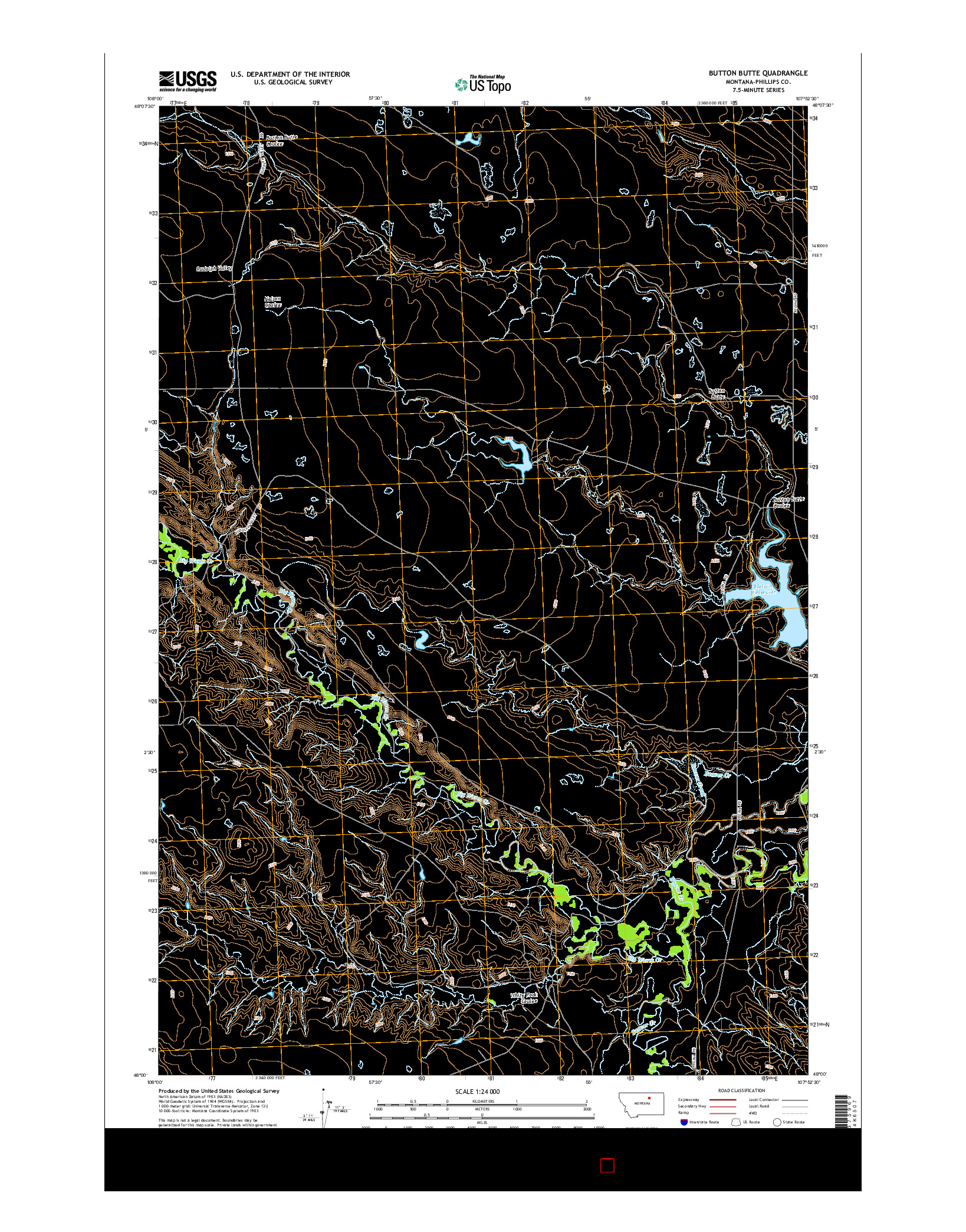 USGS US TOPO 7.5-MINUTE MAP FOR BUTTON BUTTE, MT 2014