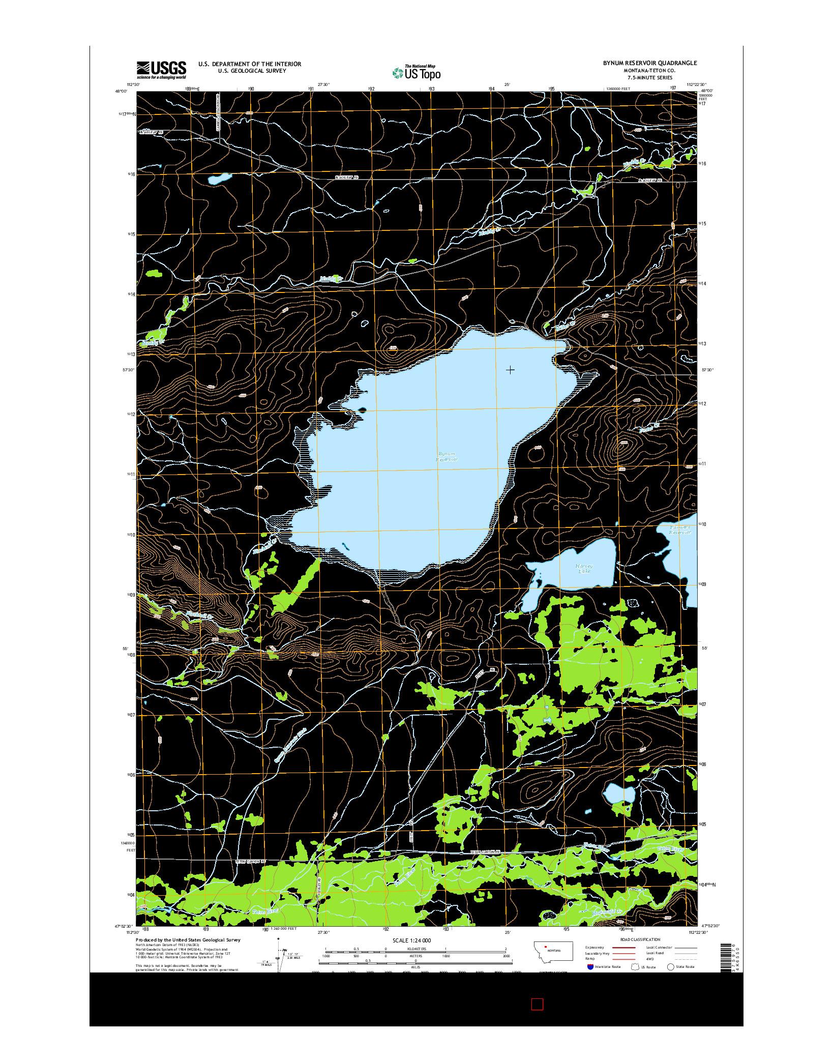 USGS US TOPO 7.5-MINUTE MAP FOR BYNUM RESERVOIR, MT 2014