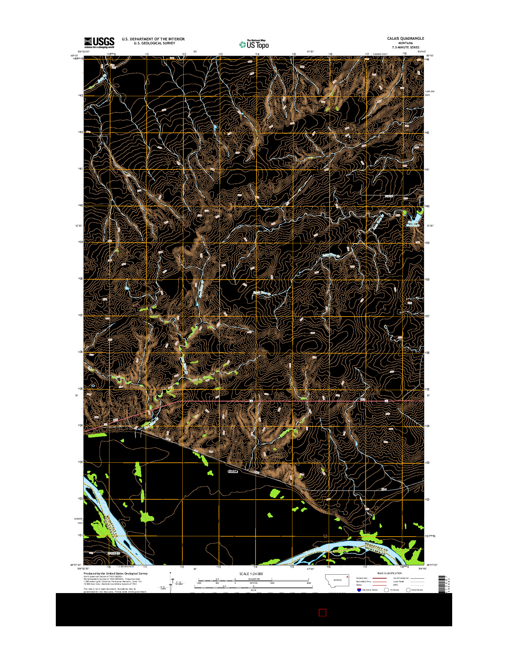 USGS US TOPO 7.5-MINUTE MAP FOR CALAIS, MT 2014