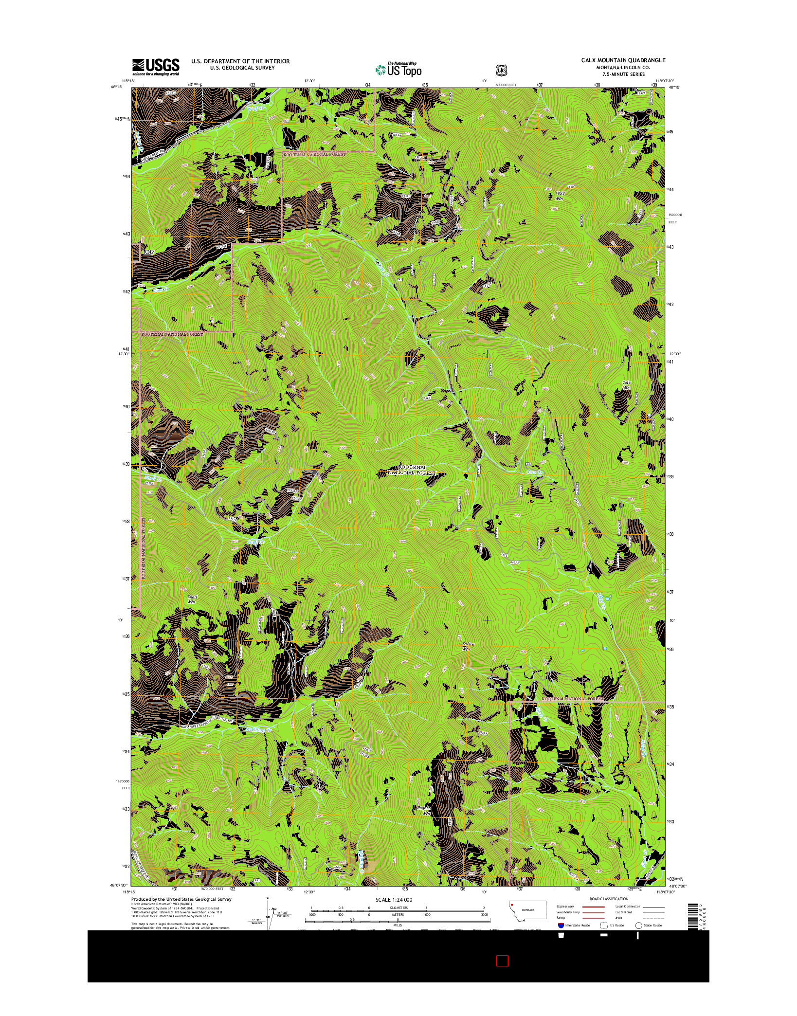 USGS US TOPO 7.5-MINUTE MAP FOR CALX MOUNTAIN, MT 2014