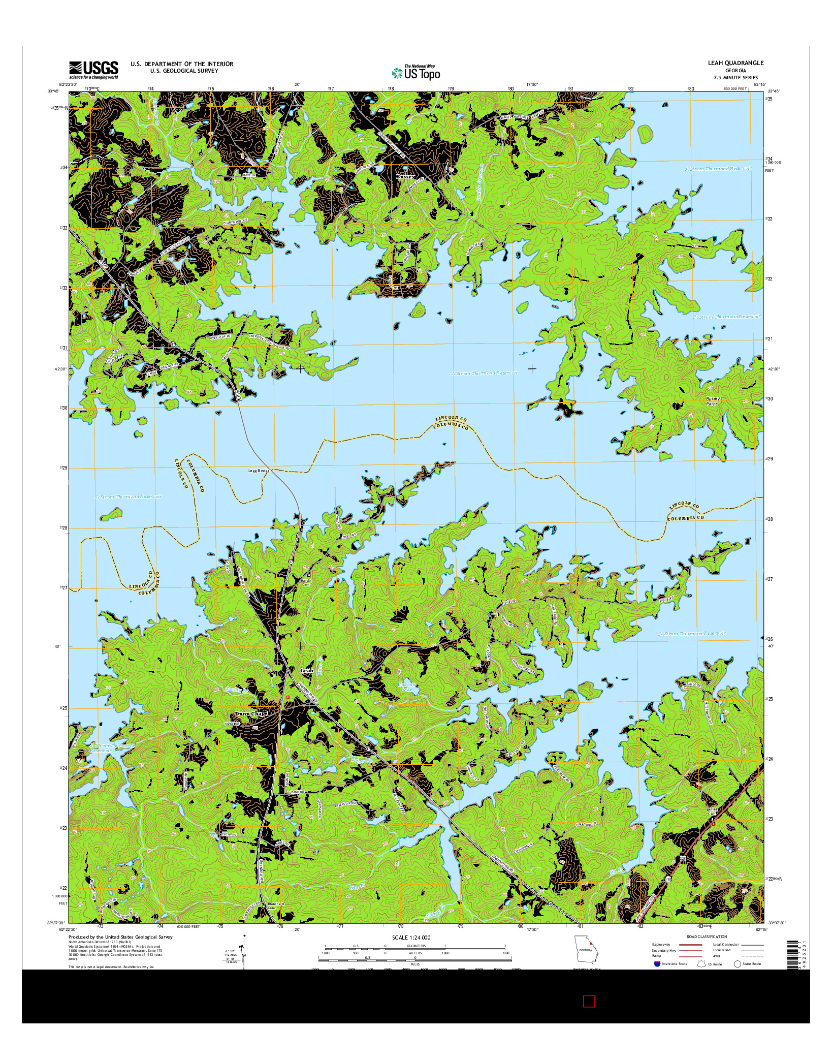 USGS US TOPO 7.5-MINUTE MAP FOR LEAH, GA 2014