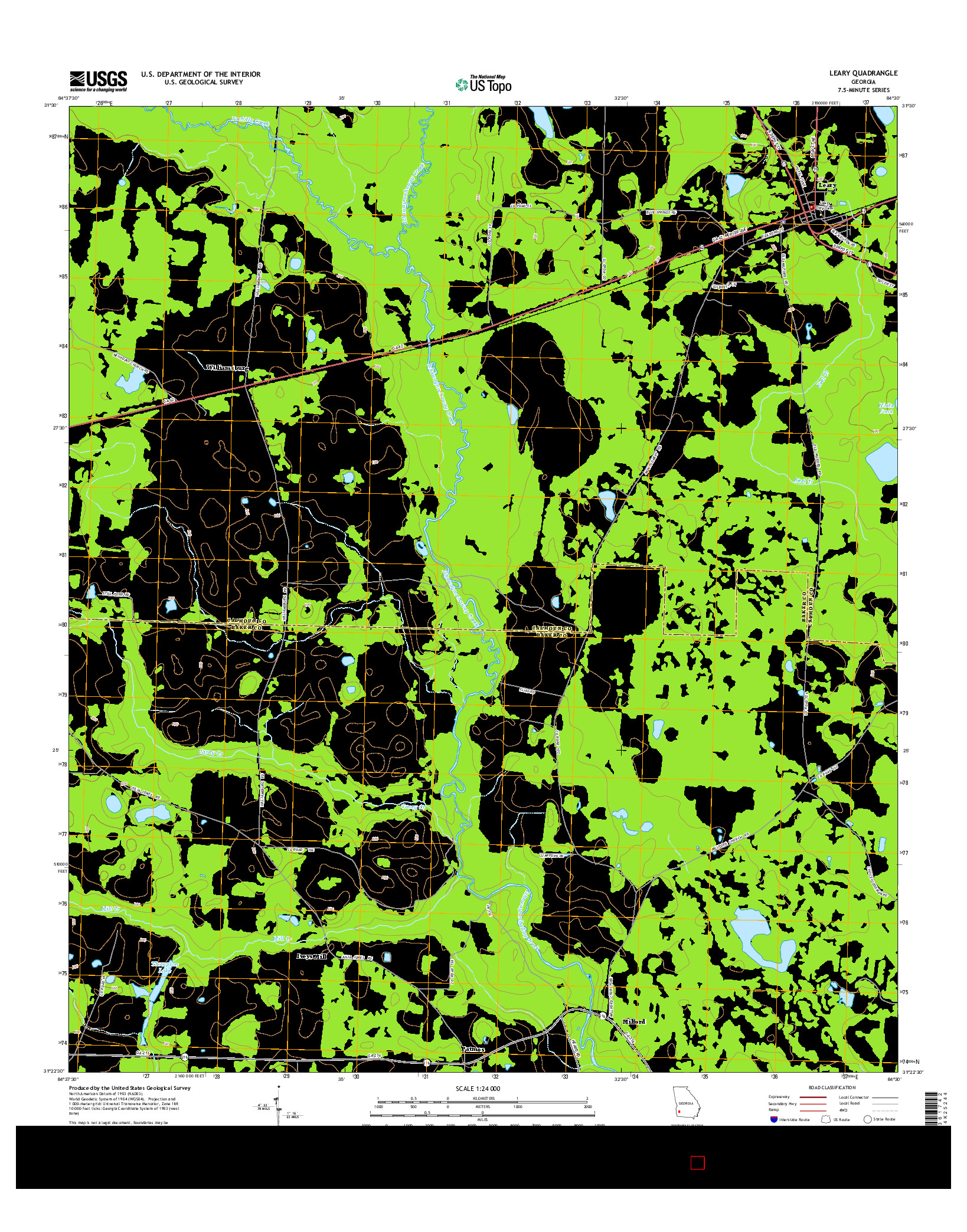 USGS US TOPO 7.5-MINUTE MAP FOR LEARY, GA 2014
