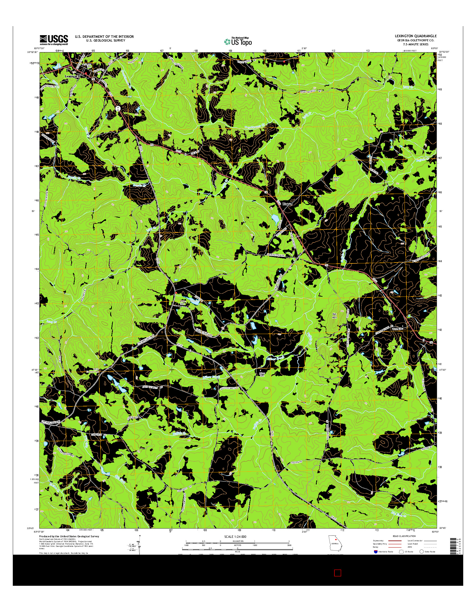 USGS US TOPO 7.5-MINUTE MAP FOR LEXINGTON, GA 2014