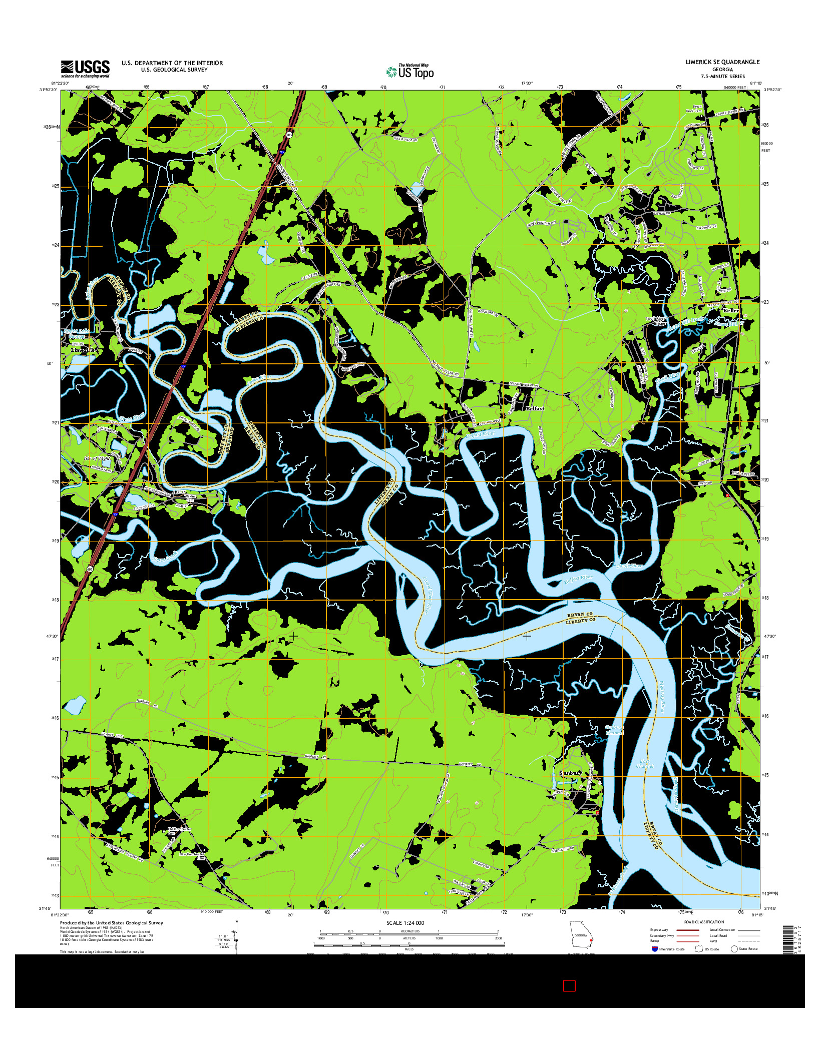 USGS US TOPO 7.5-MINUTE MAP FOR LIMERICK SE, GA 2014