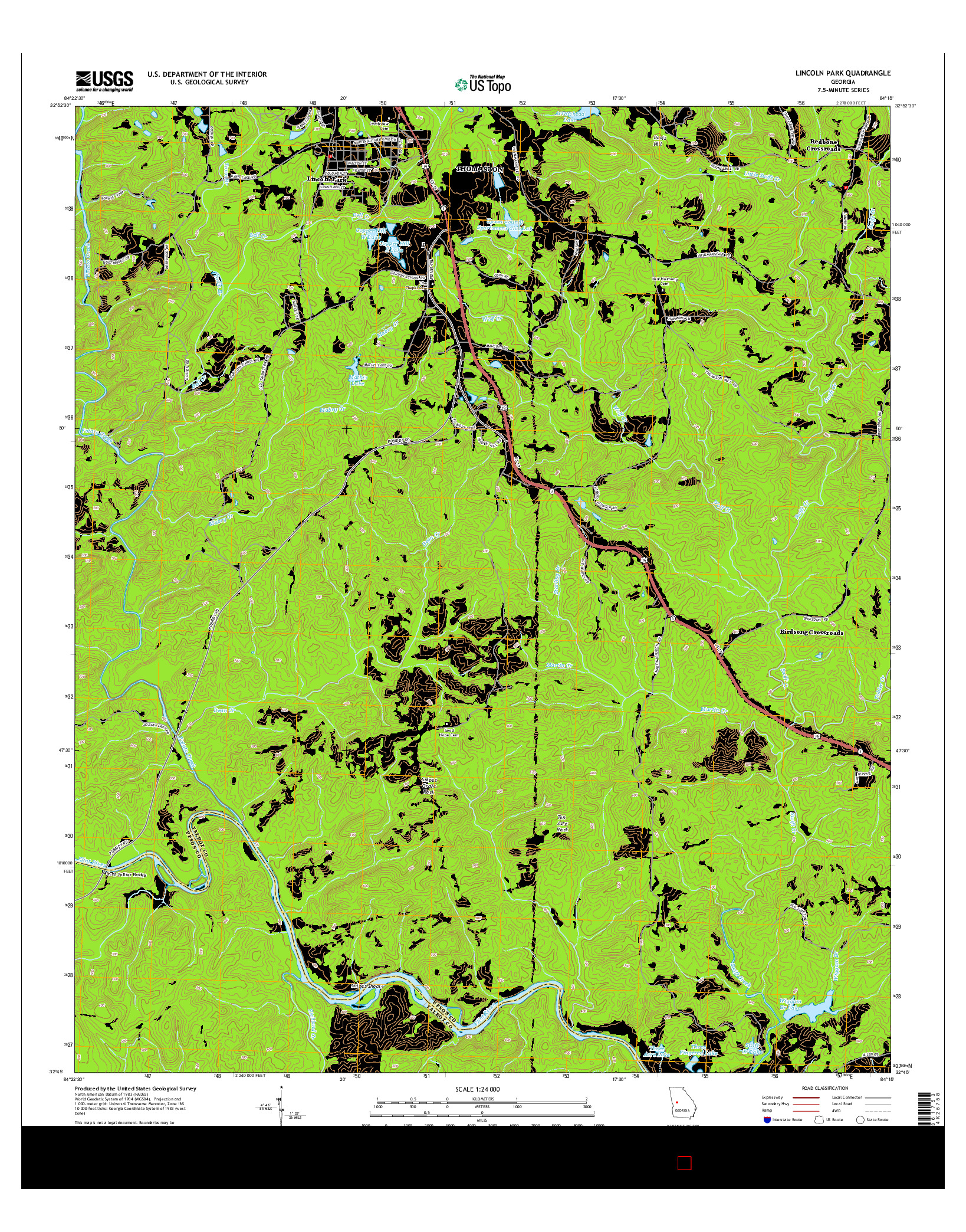 USGS US TOPO 7.5-MINUTE MAP FOR LINCOLN PARK, GA 2014