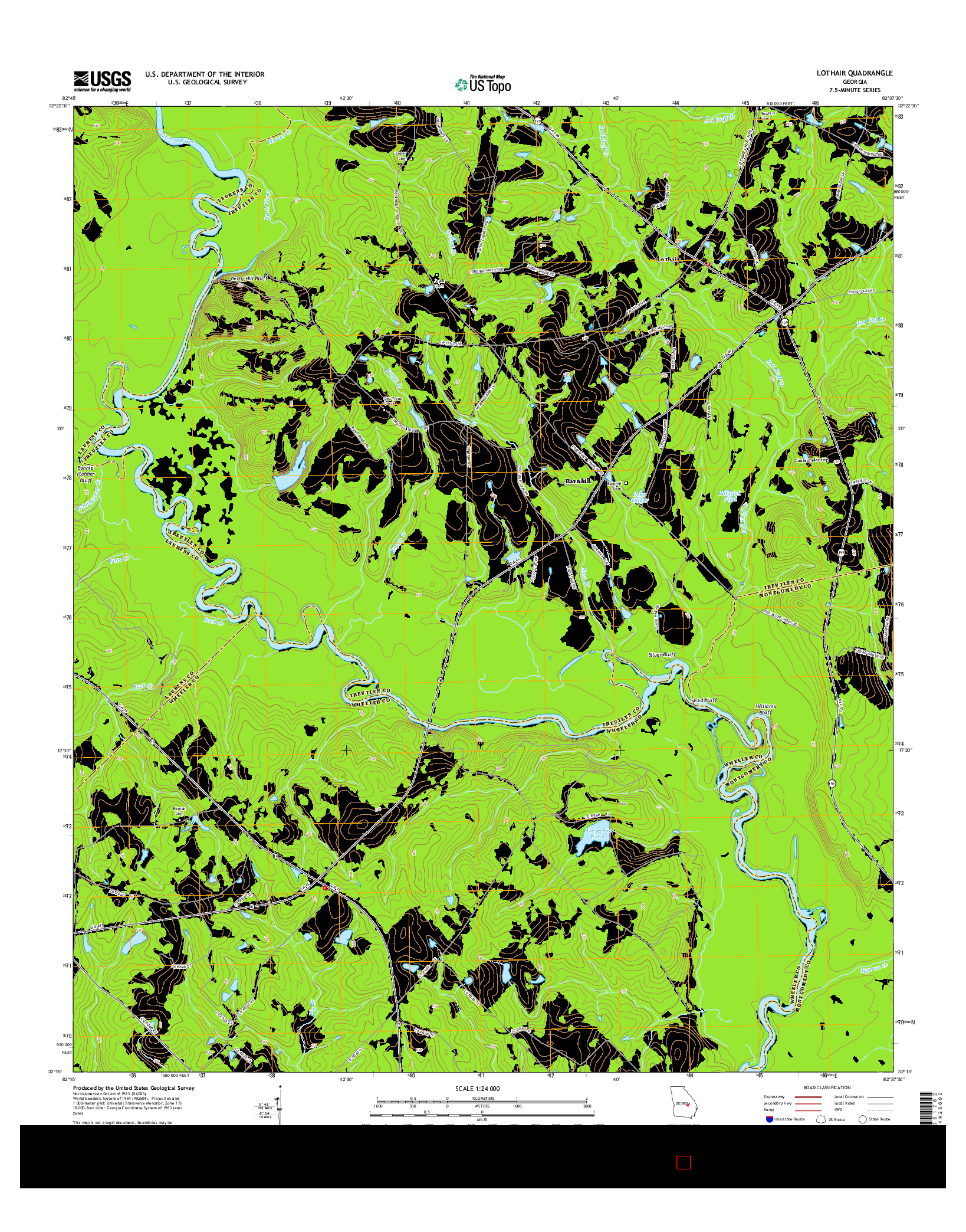 USGS US TOPO 7.5-MINUTE MAP FOR LOTHAIR, GA 2014