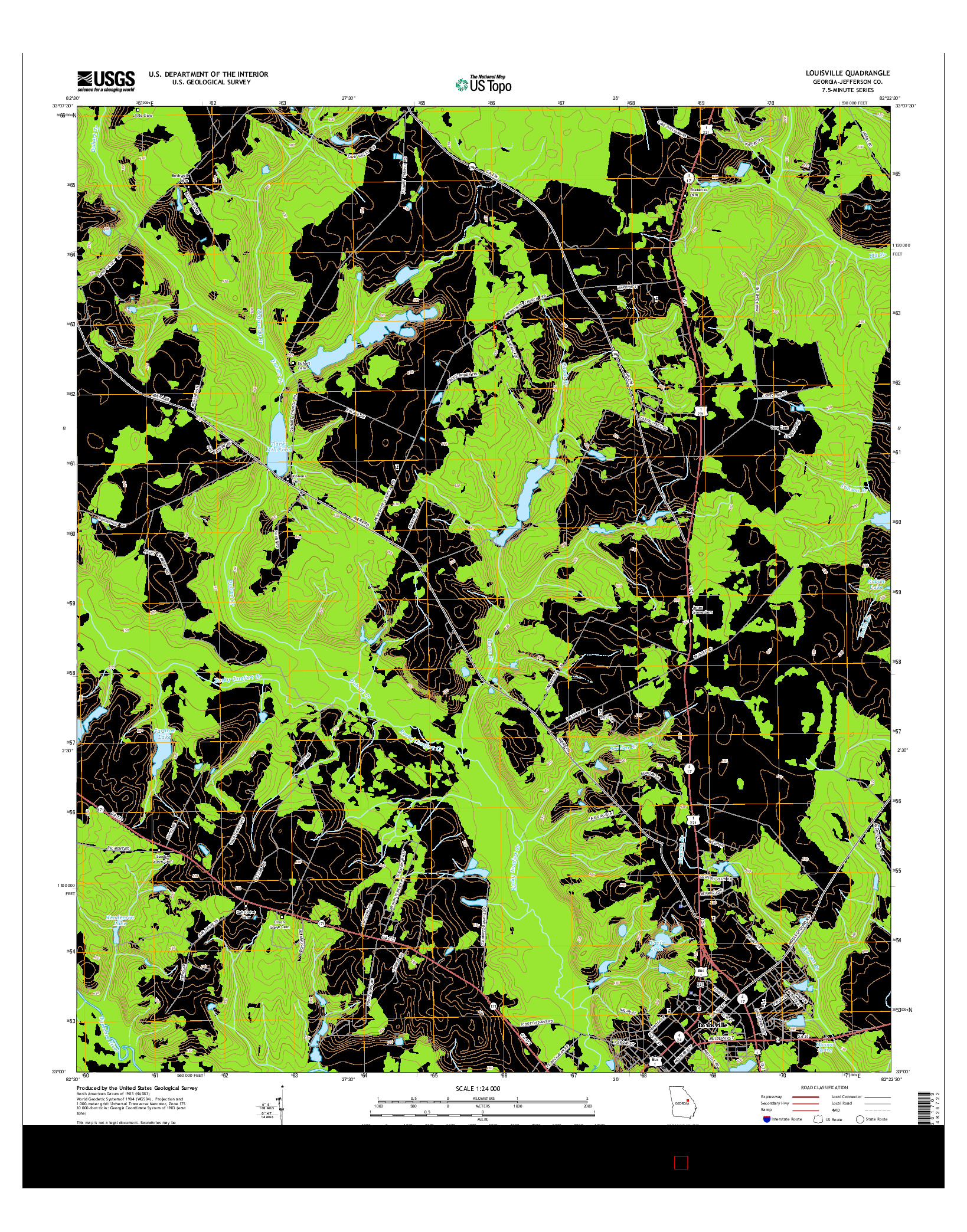 USGS US TOPO 7.5-MINUTE MAP FOR LOUISVILLE, GA 2014
