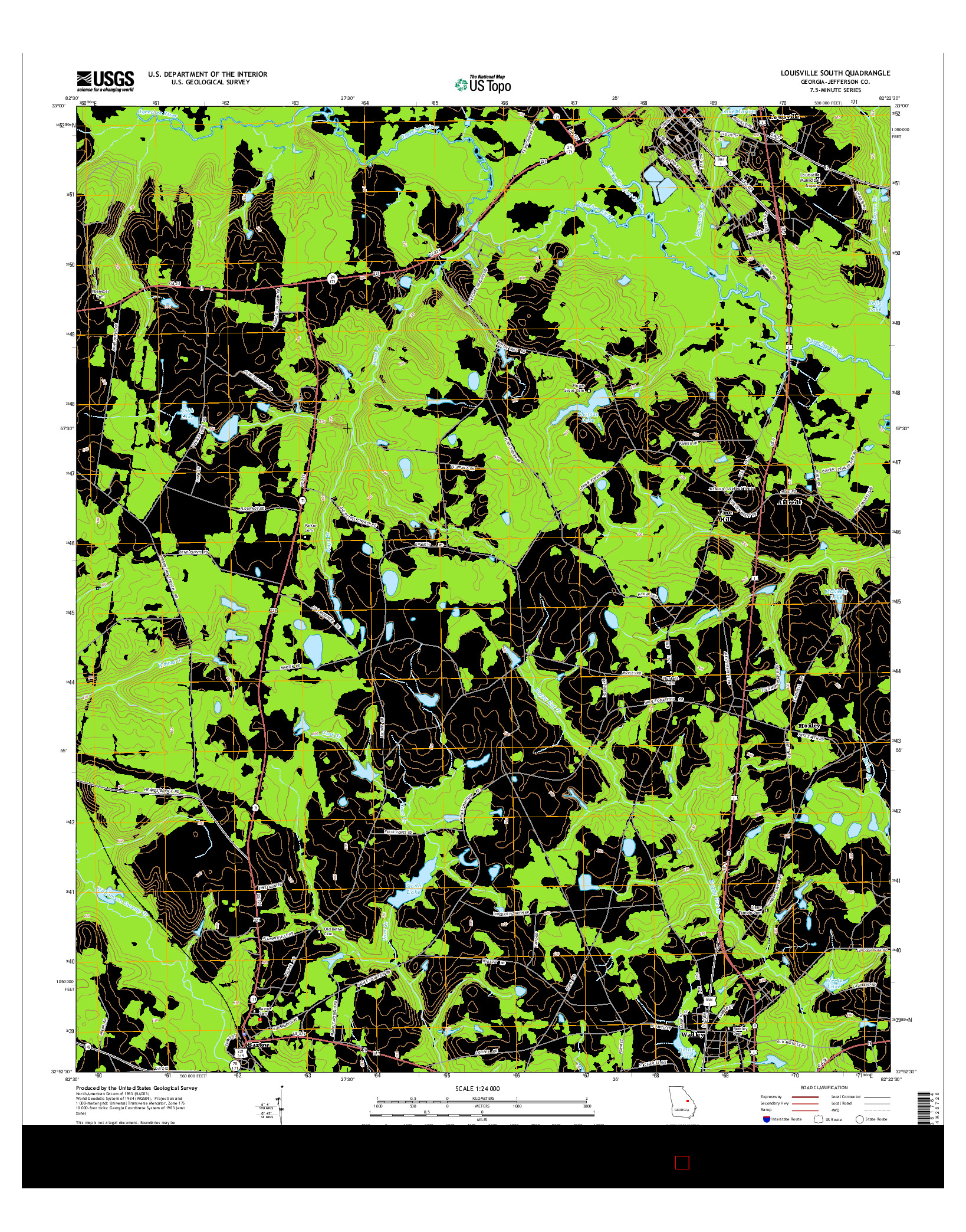 USGS US TOPO 7.5-MINUTE MAP FOR LOUISVILLE SOUTH, GA 2014