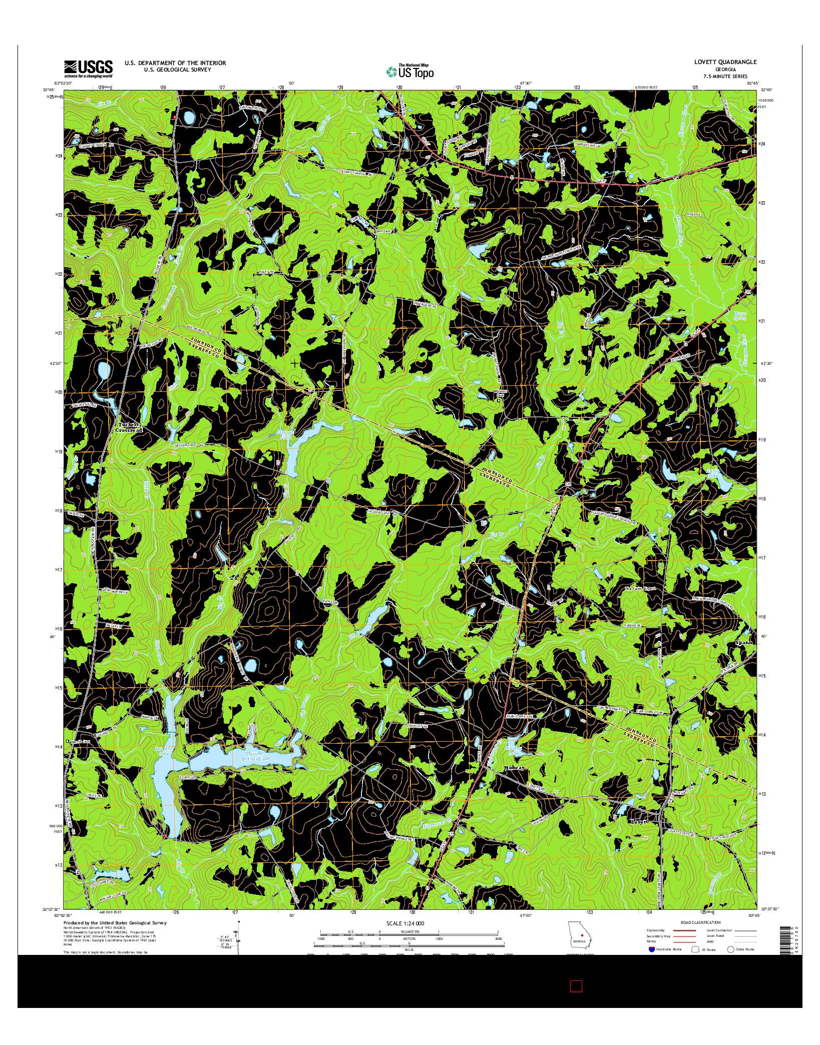 USGS US TOPO 7.5-MINUTE MAP FOR LOVETT, GA 2014
