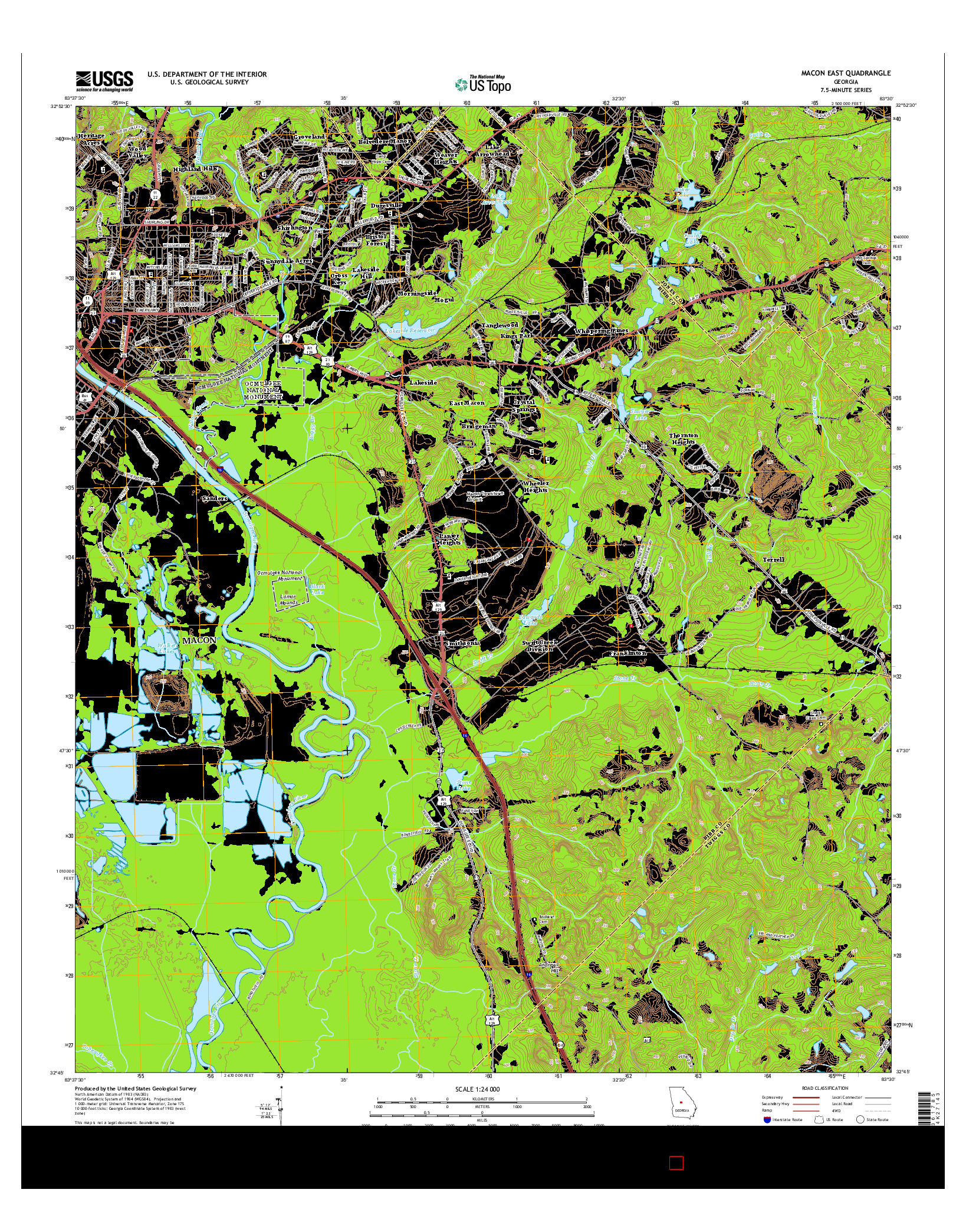 USGS US TOPO 7.5-MINUTE MAP FOR MACON EAST, GA 2014