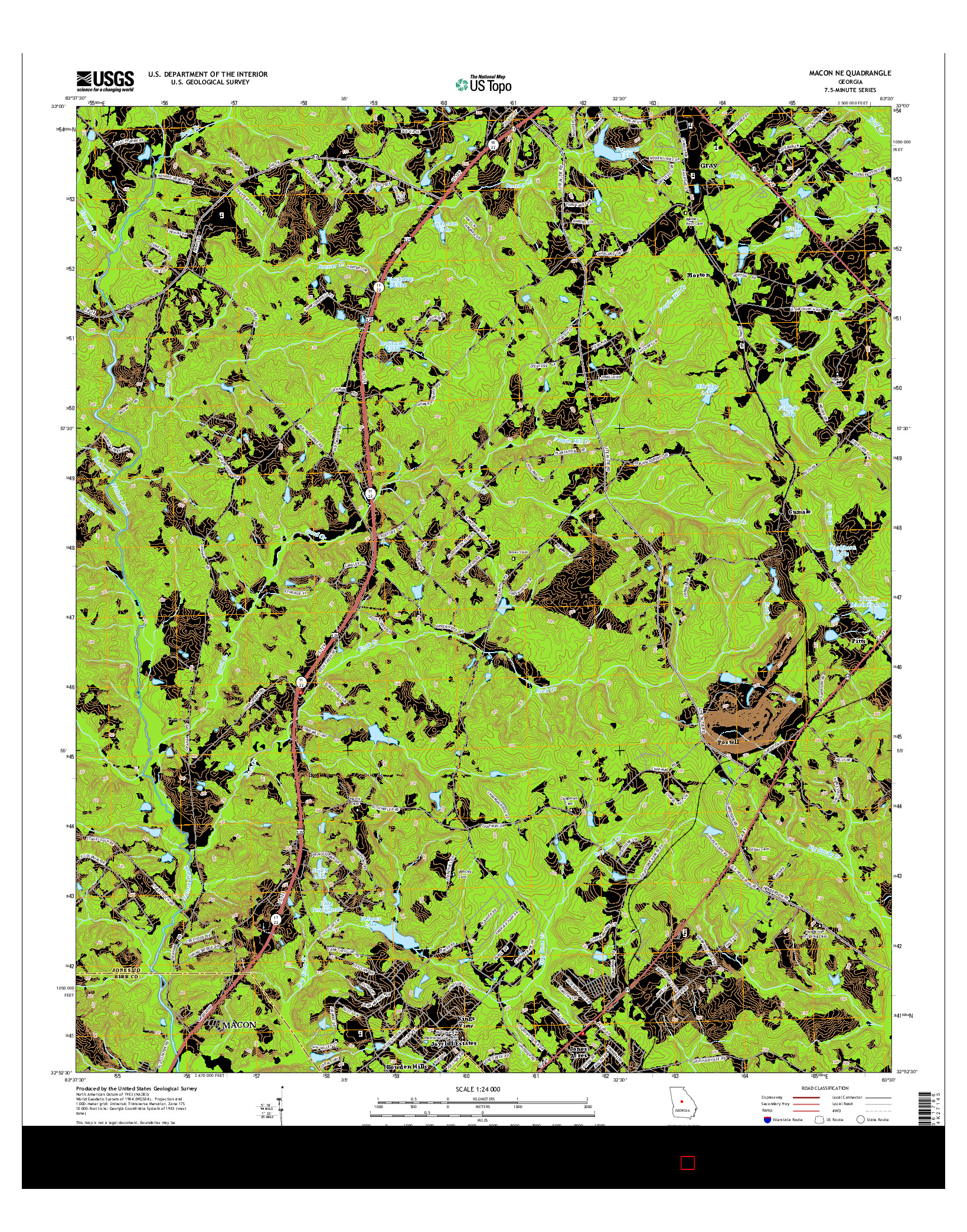 USGS US TOPO 7.5-MINUTE MAP FOR MACON NE, GA 2014