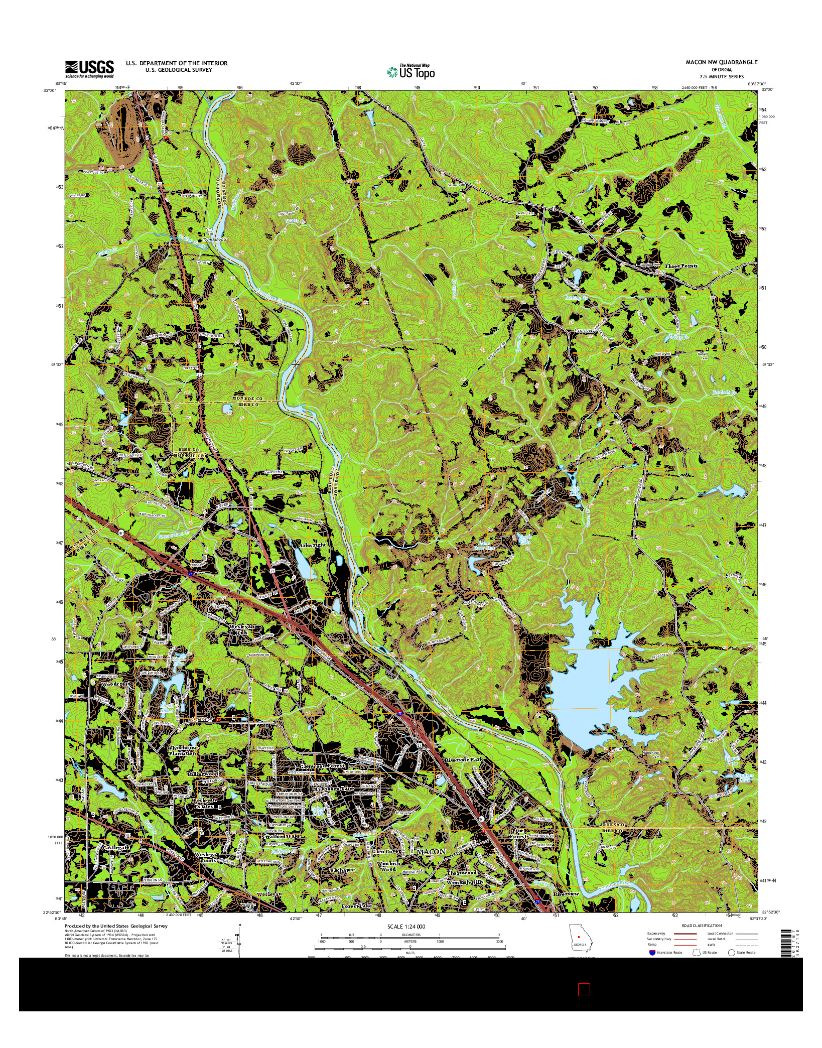 USGS US TOPO 7.5-MINUTE MAP FOR MACON NW, GA 2014