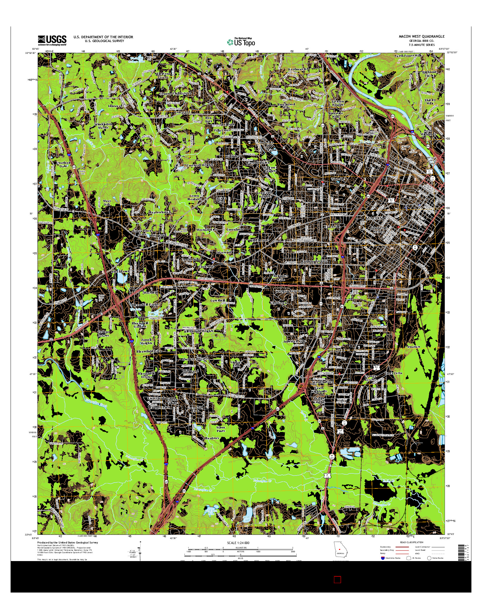 USGS US TOPO 7.5-MINUTE MAP FOR MACON WEST, GA 2014