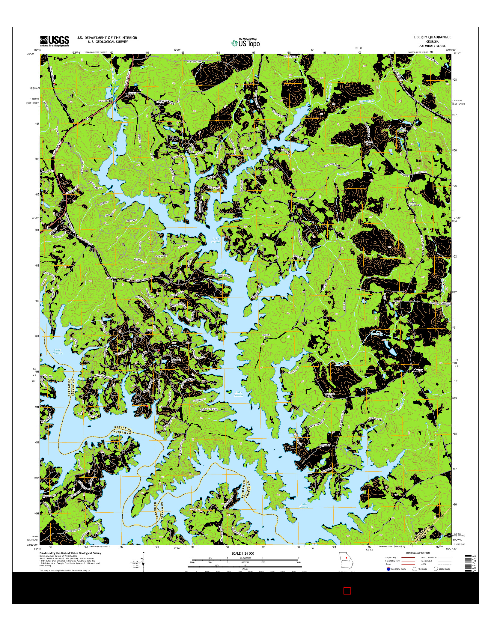 USGS US TOPO 7.5-MINUTE MAP FOR LIBERTY, GA 2014